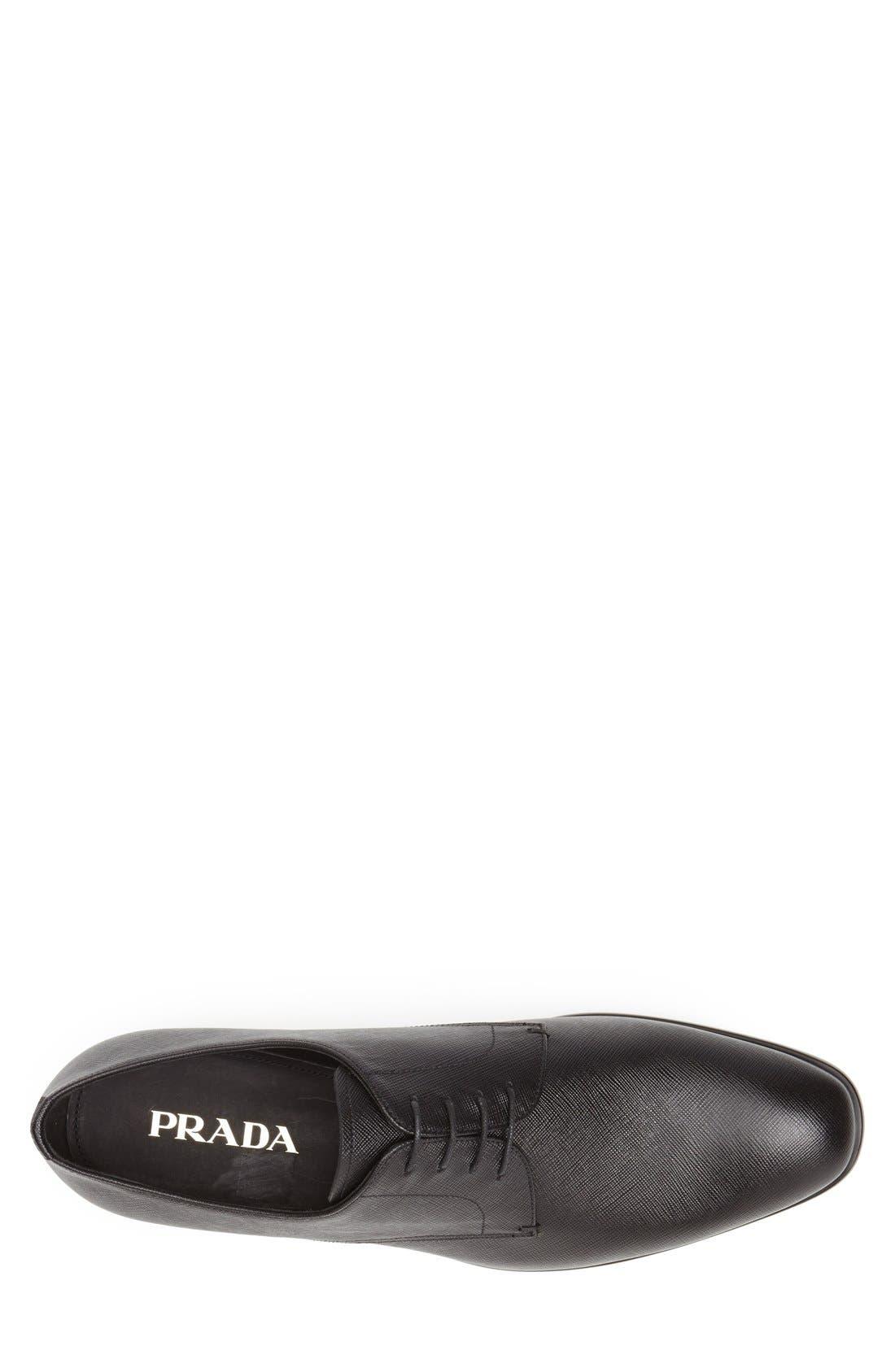 PRADA, Plain Toe Derby, Alternate thumbnail 3, color, BLACK