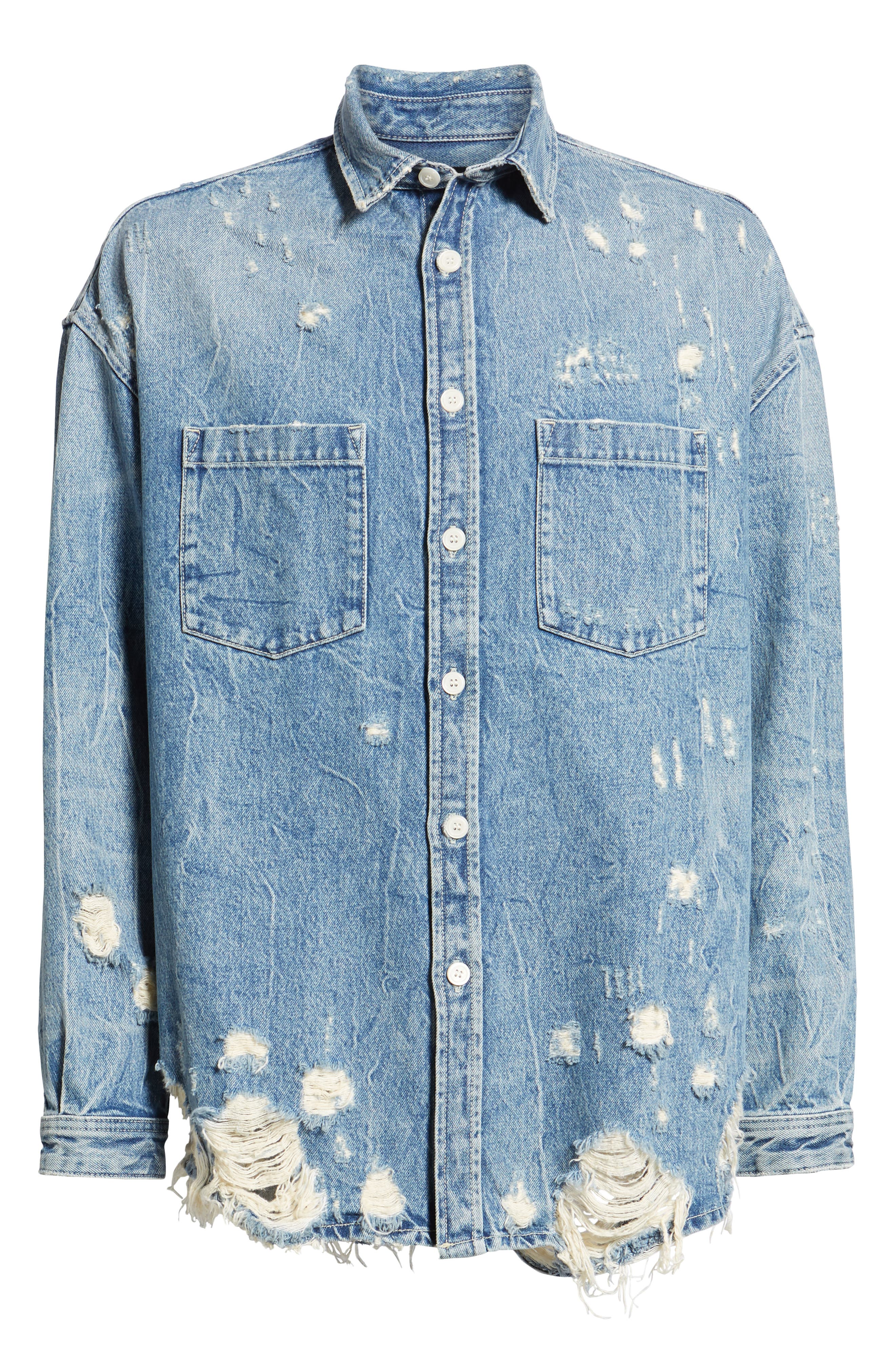 THE KOOPLES, Distressed Denim Overshirt, Alternate thumbnail 6, color, BLUE DENIM
