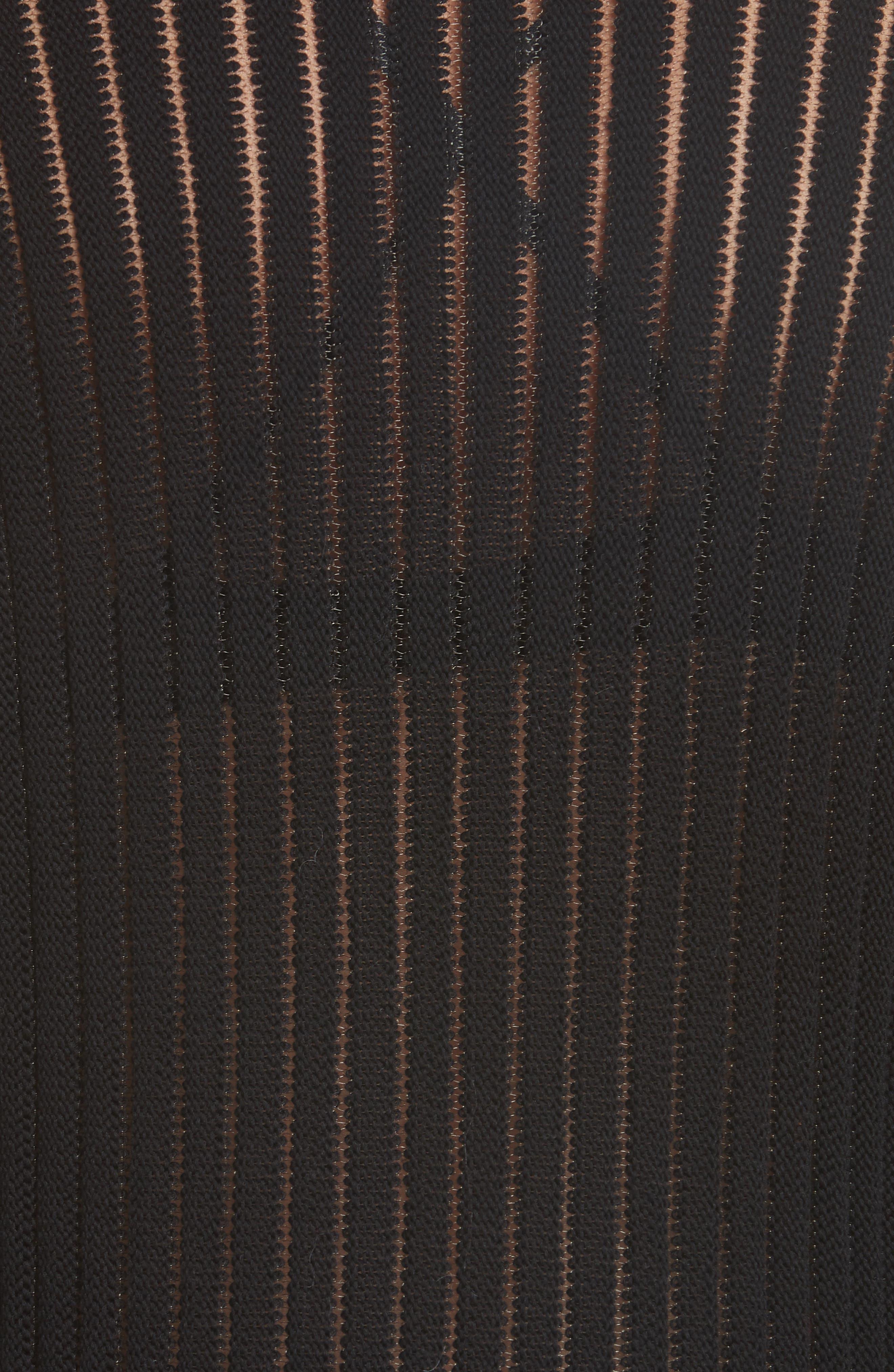 HELMUT LANG, Sheer Stripe Sweater, Alternate thumbnail 5, color, 001