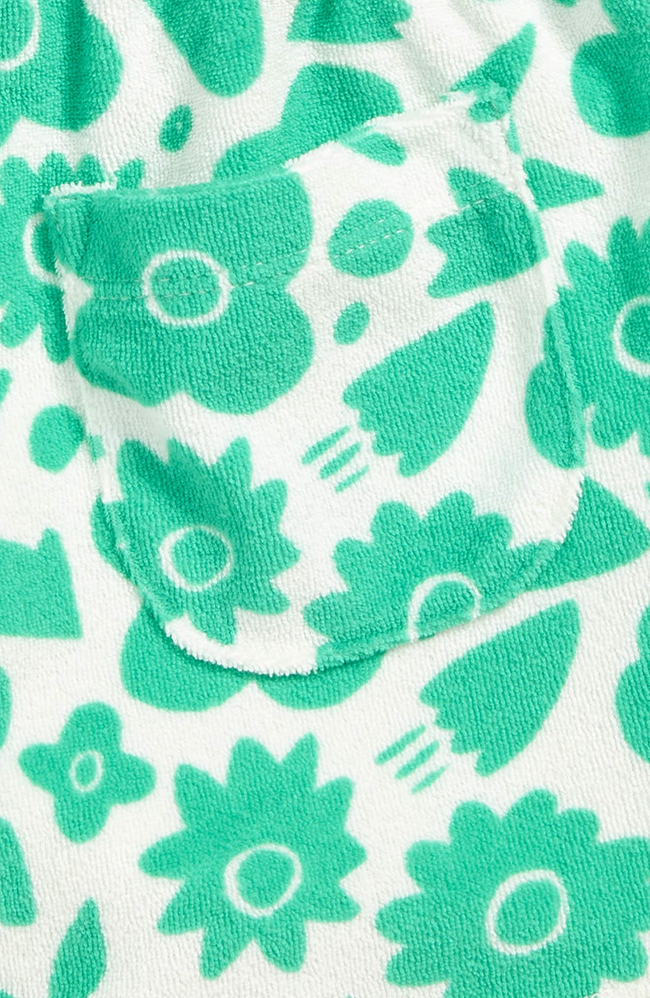 MINI BODEN, Terry Cloth Shorts, Alternate thumbnail 3, color, GRN JUNGLE GREEN POP FLORAL