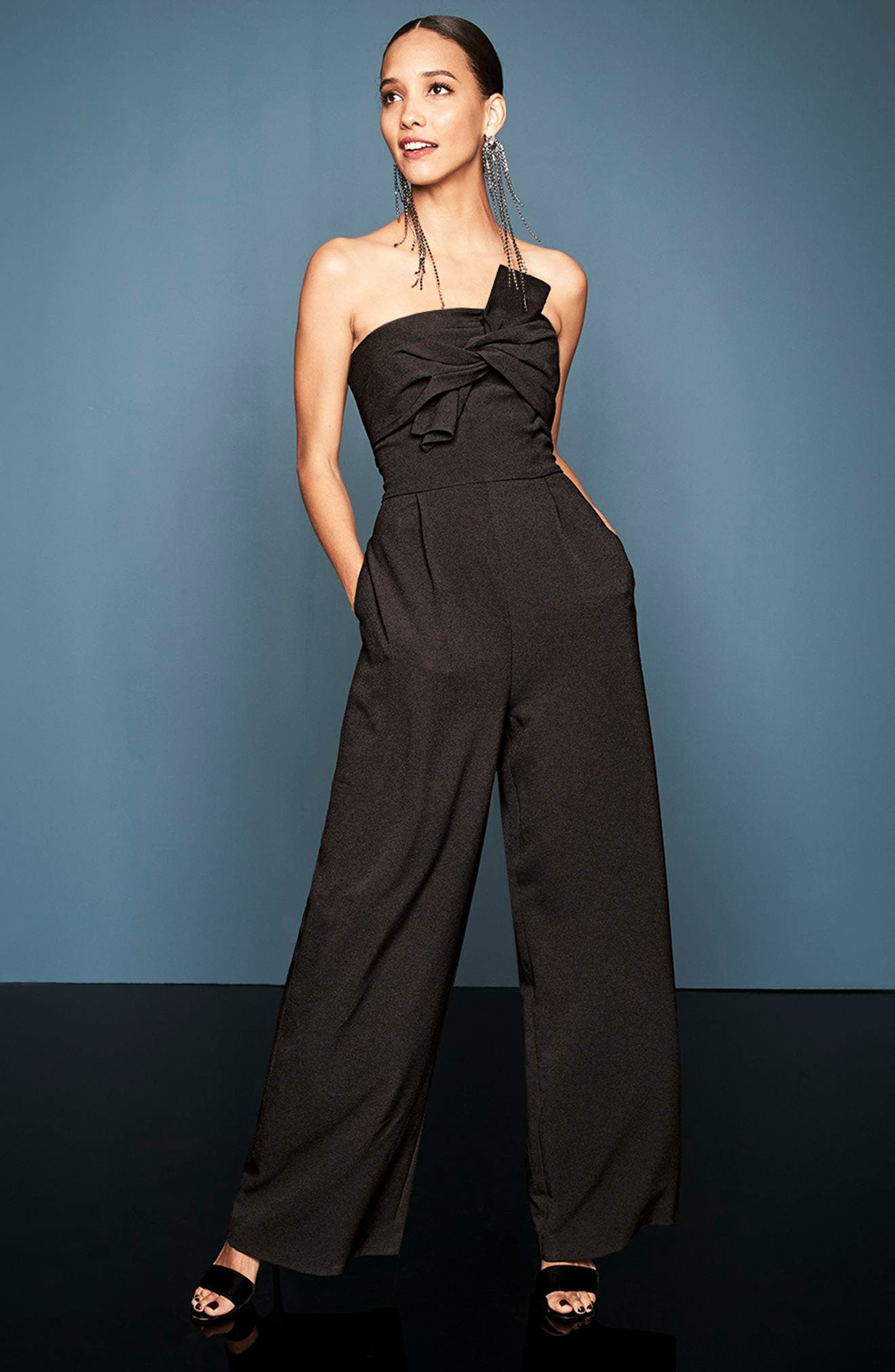 CHELSEA28, Strapless Jumpsuit, Alternate thumbnail 8, color, BLACK
