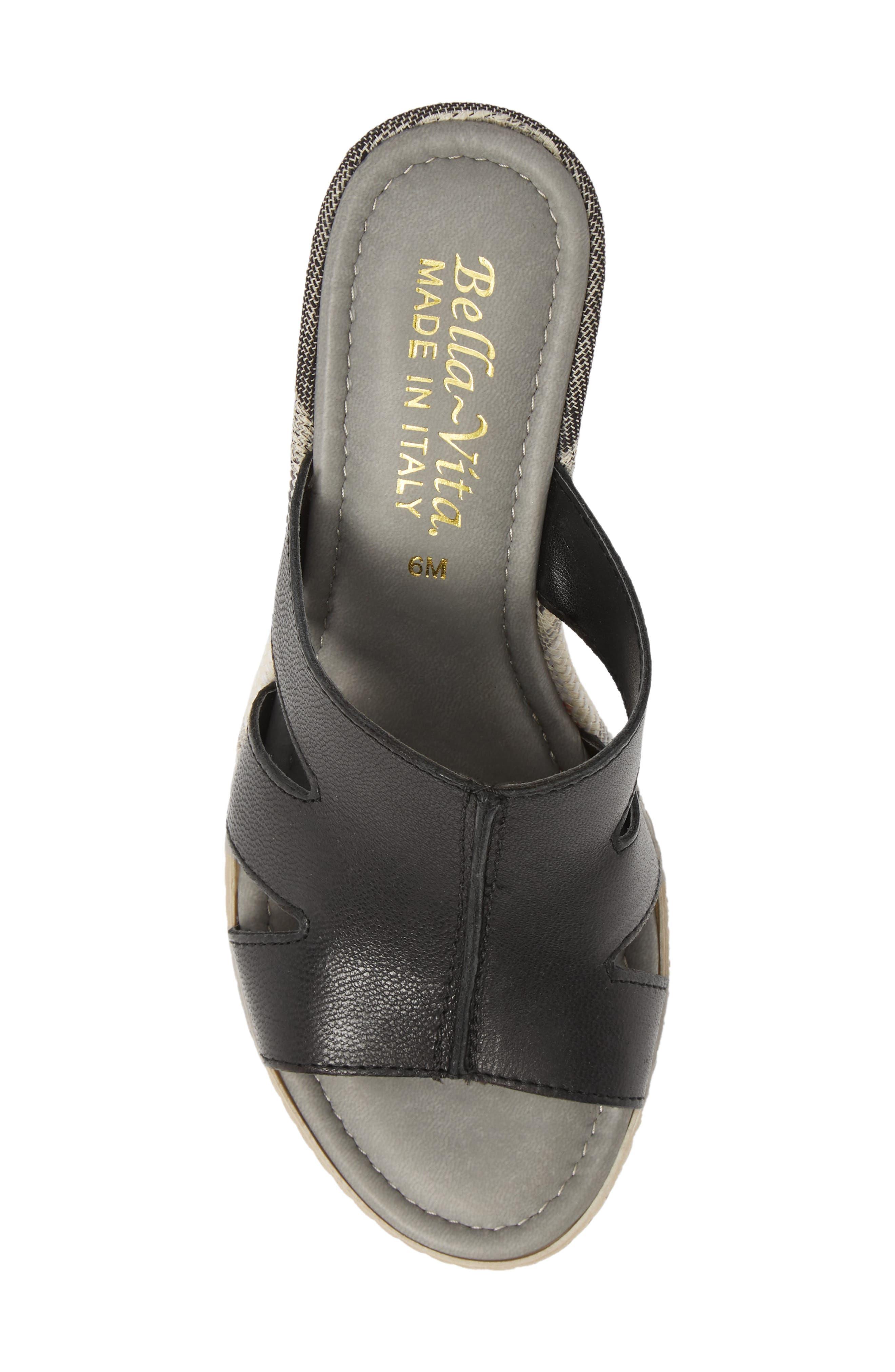 BELLA VITA, Rox Wedge Slide Sandal, Alternate thumbnail 5, color, BLACK ITALIAN LEATHER