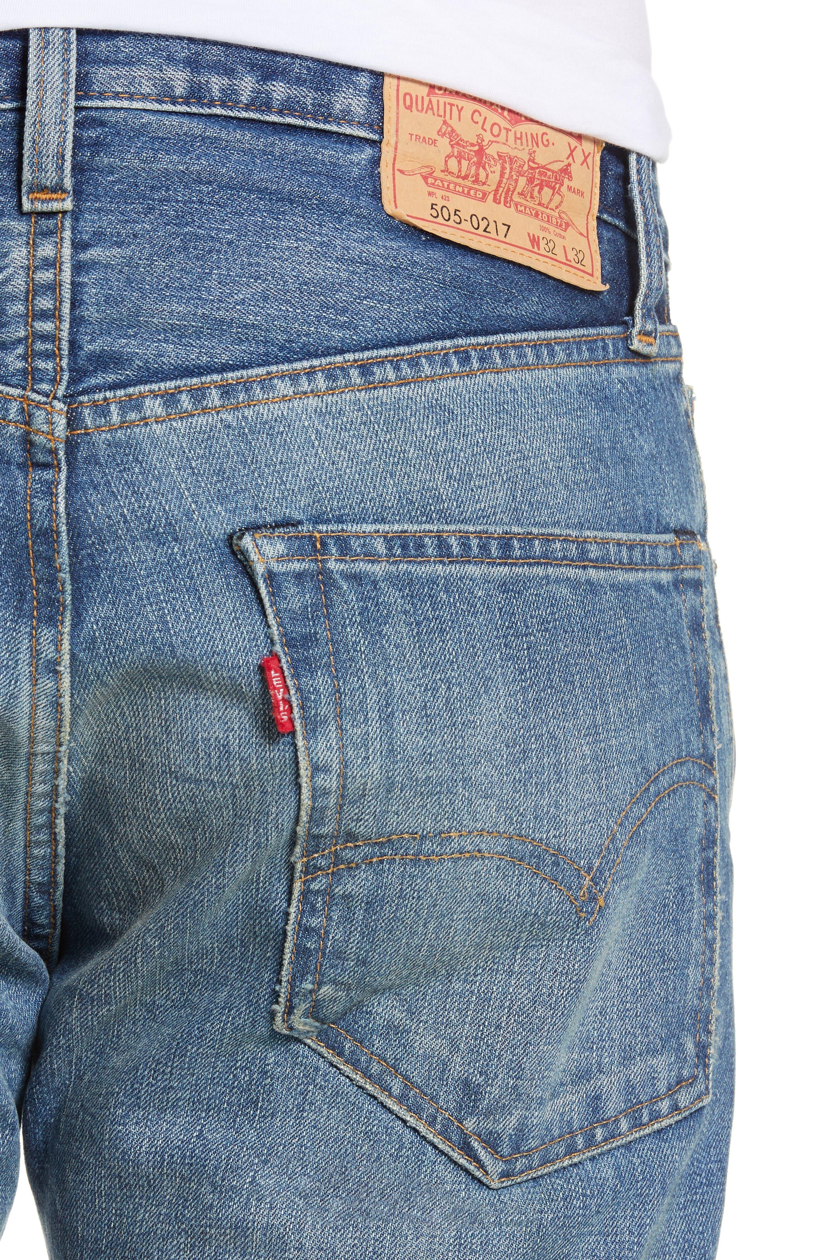 LEVI'S<SUP>®</SUP> VINTAGE CLOTHING, 1967 505<sup>™</sup> Slim Fit Selvedge Jeans, Alternate thumbnail 5, color, SPUTNIK