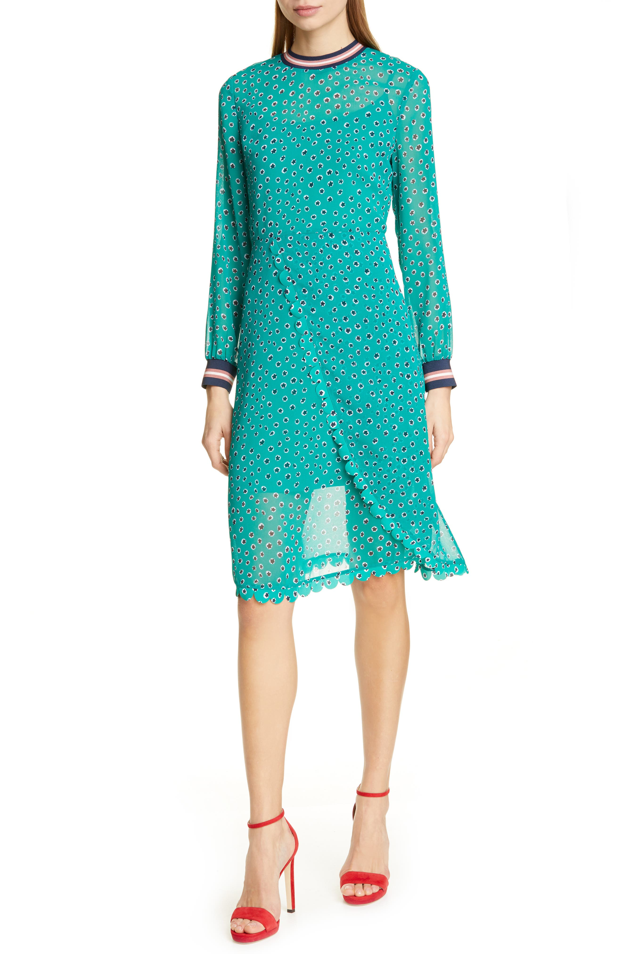 Ted Baker London Colour By Numbers Sibella Long Sleeve Dress, Green