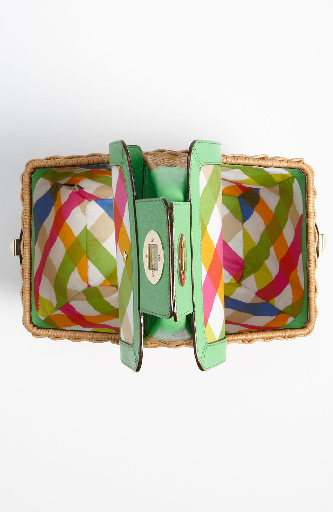 KATE SPADE NEW YORK, 'linden' wicker basket, Alternate thumbnail 3, color, 128