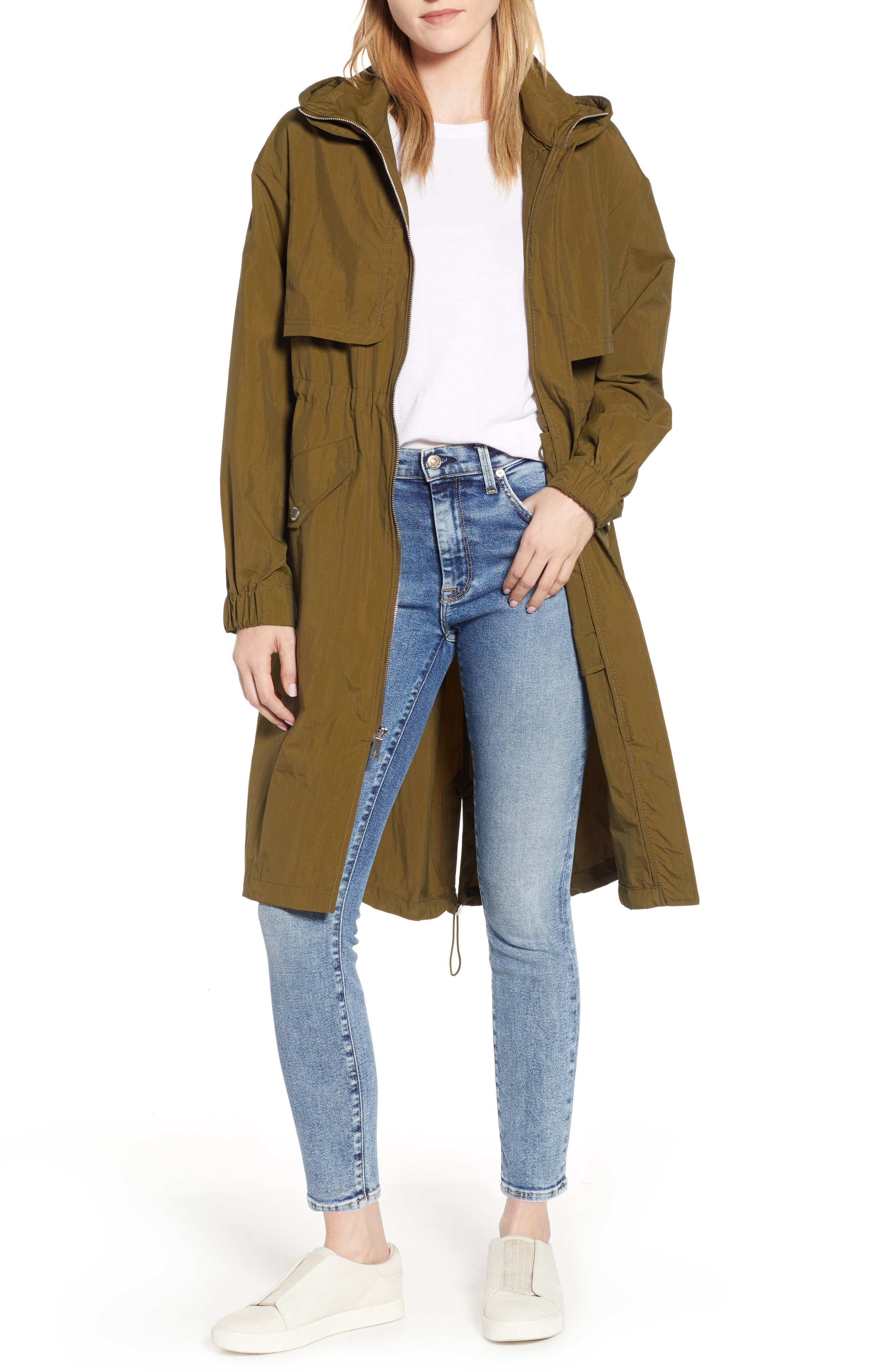 KENNETH COLE NEW YORK, Hooded Parka, Main thumbnail 1, color, OLIVE
