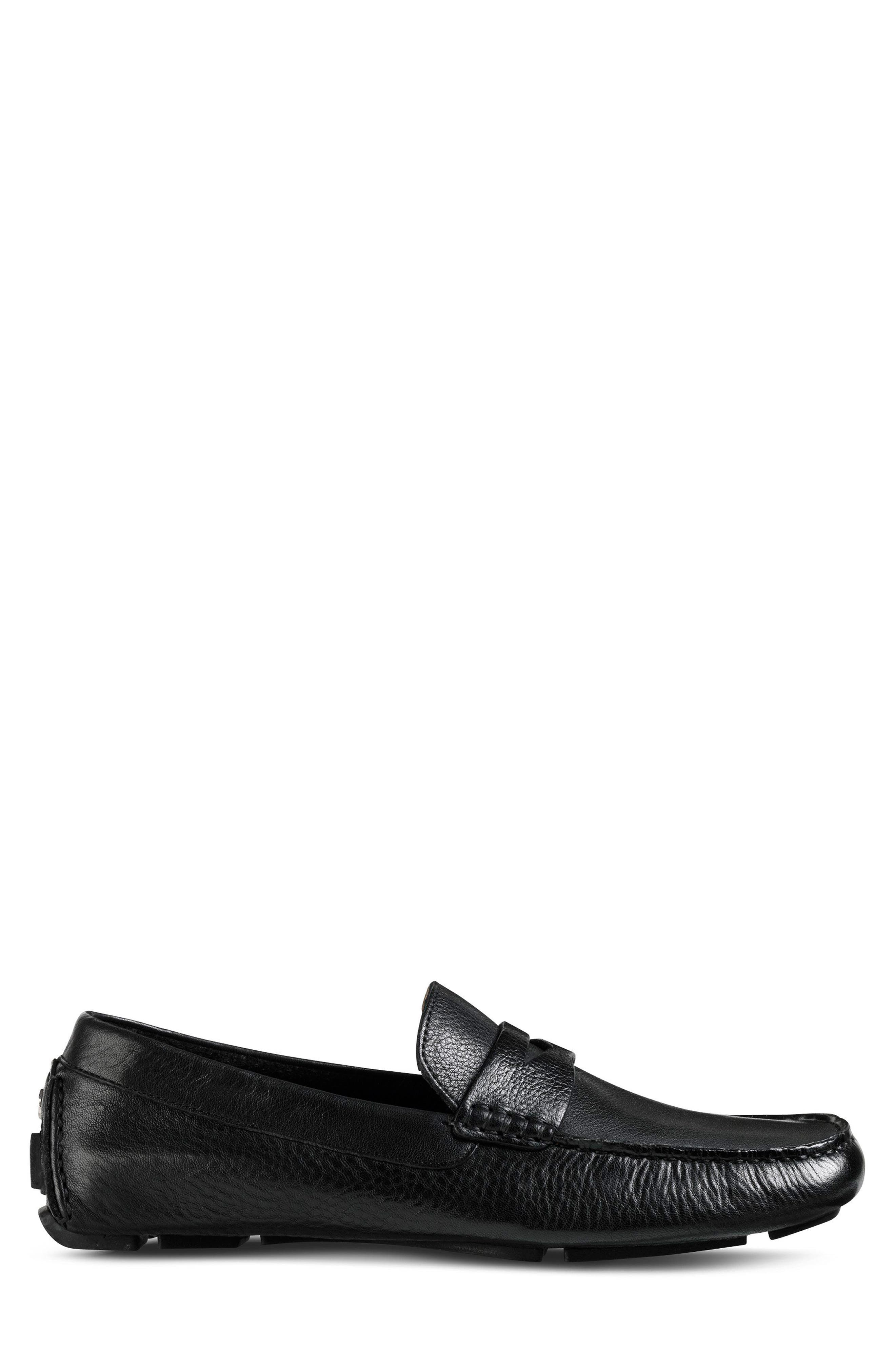 COLE HAAN, 'Howland' Penny Loafer, Alternate thumbnail 3, color, BLACK TUMBLED