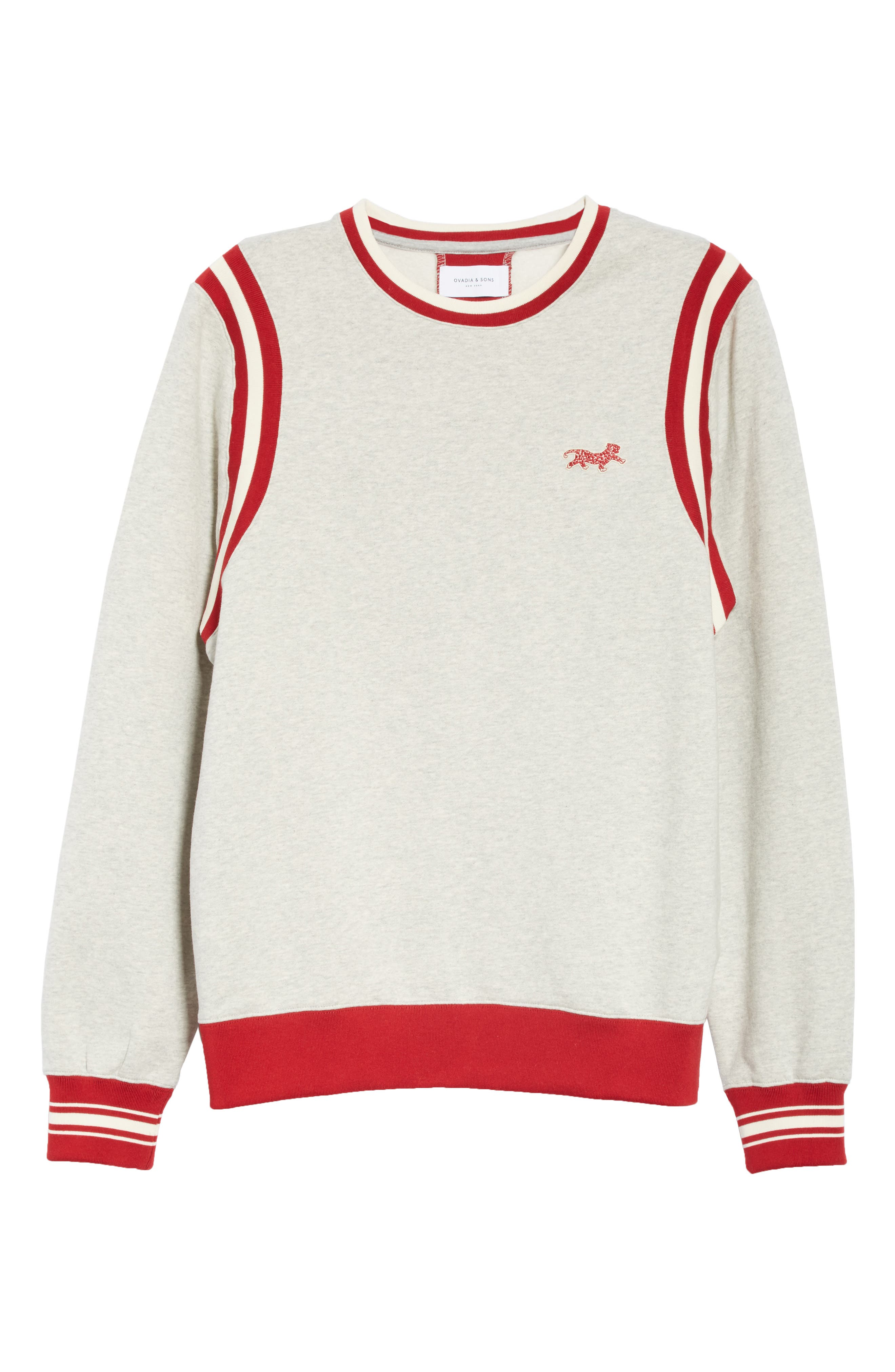 OVADIA & SONS, Varsity Sweatshirt, Alternate thumbnail 6, color, HEATHER GREY/RED