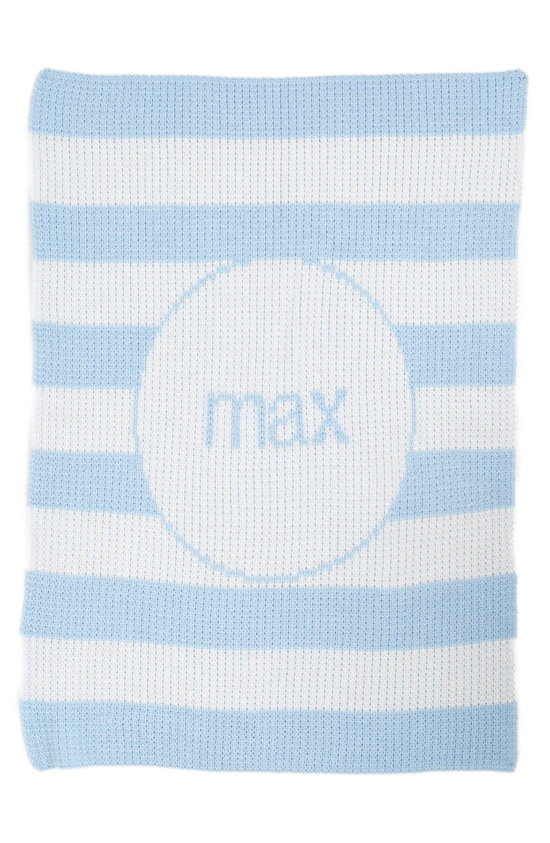 BUTTERSCOTCH BLANKEES, 'Modern Stripe' Personalized Stroller Blanket, Main thumbnail 1, color, WHITE/ PALE BLUE