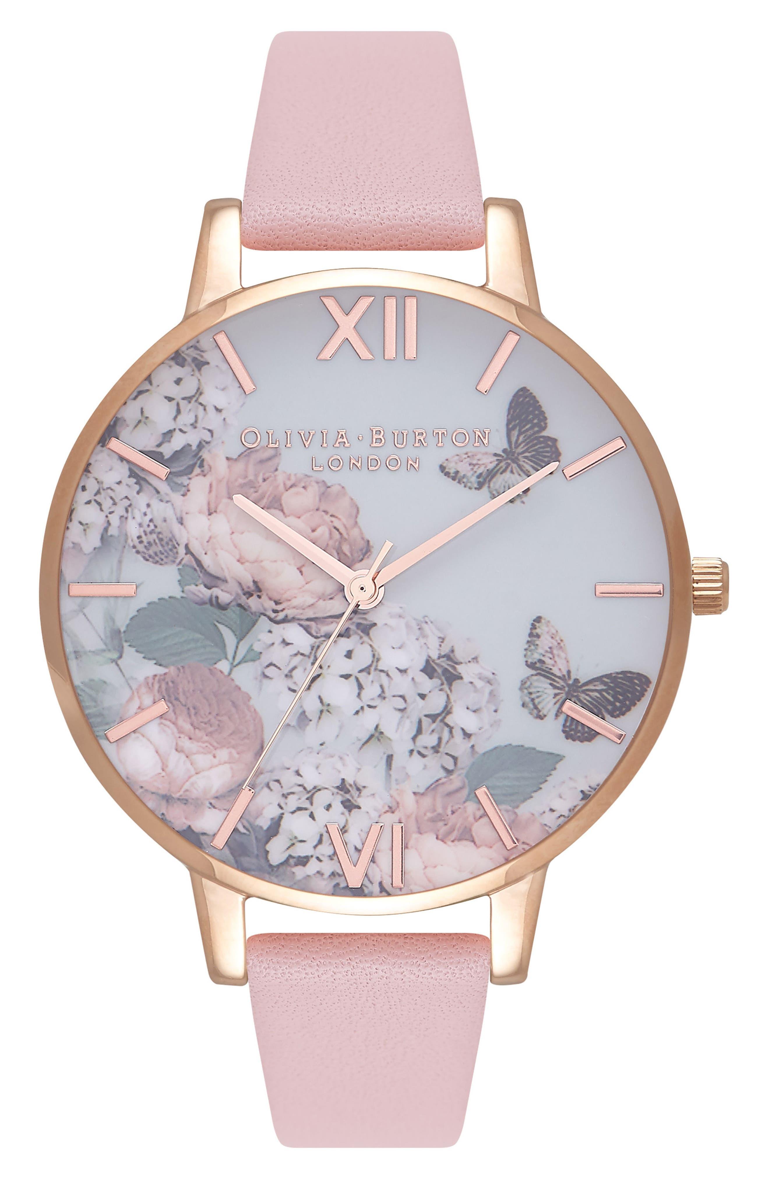 OLIVIA BURTON, Signature Florals Leather Strap Watch, 38mm, Main thumbnail 1, color, 650