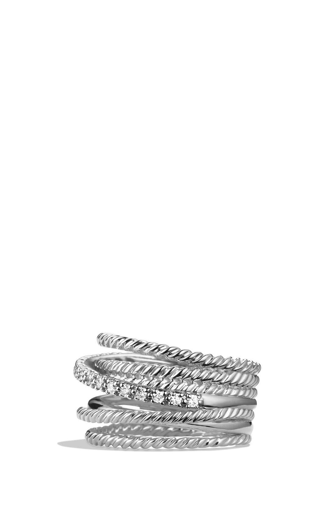 DAVID YURMAN, 'Crossover' Wide Ring with Diamonds, Alternate thumbnail 2, color, DIAMOND