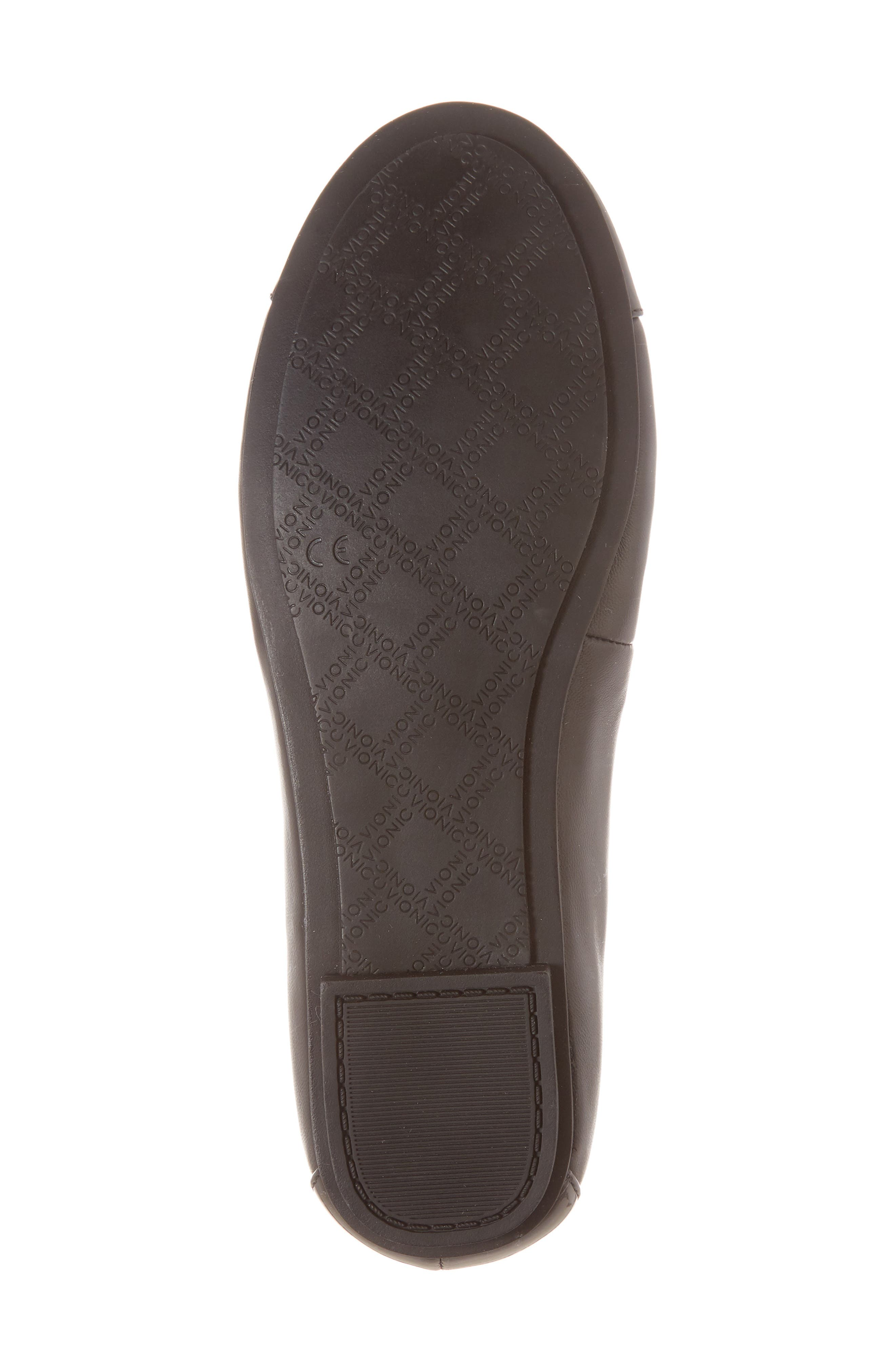 VIONIC, 'Minna' Leather Flat, Alternate thumbnail 6, color, 002