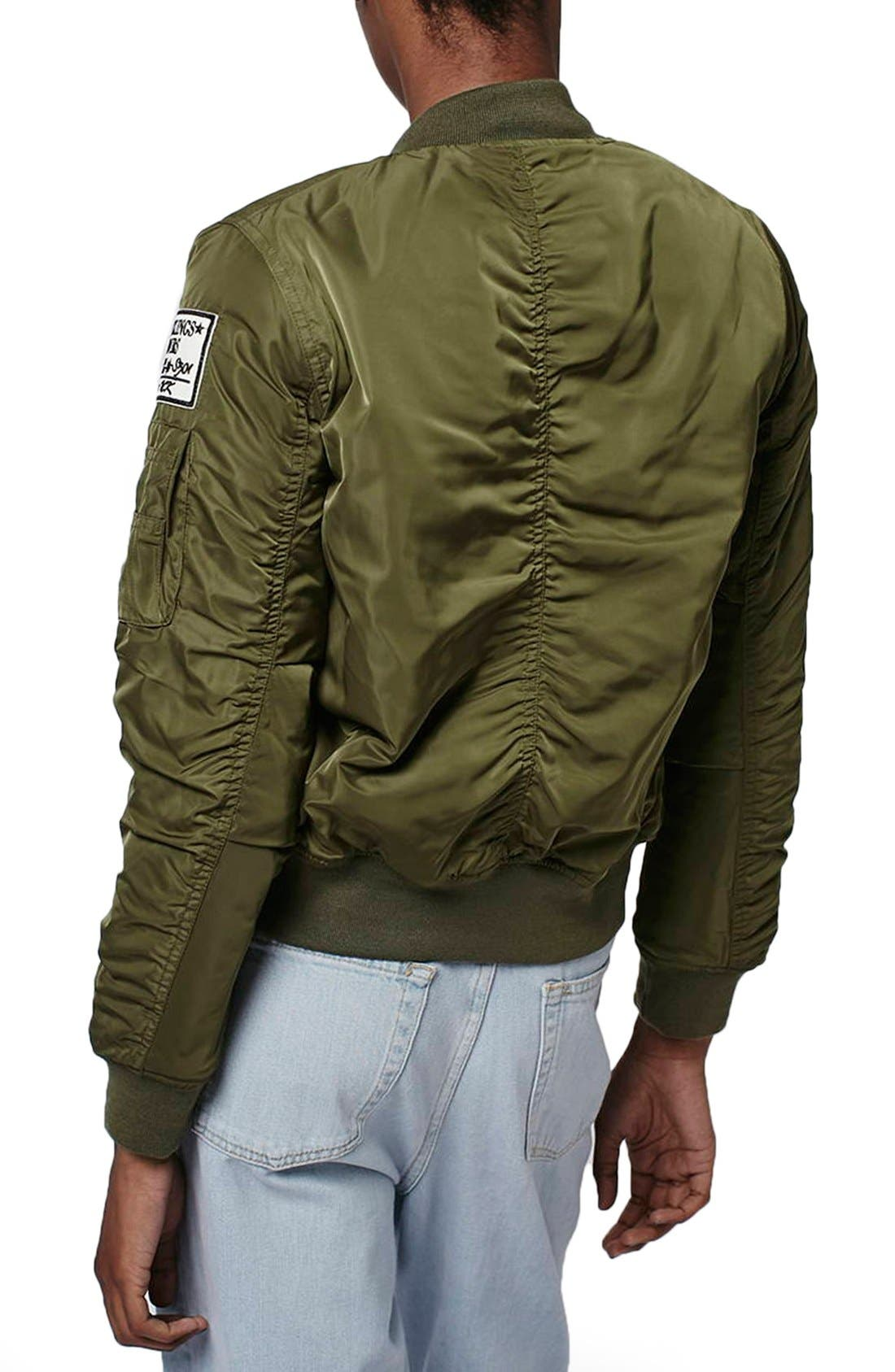 TOPSHOP, 'Bruce' Patch Detail MA1 Bomber Jacket, Alternate thumbnail 2, color, 300