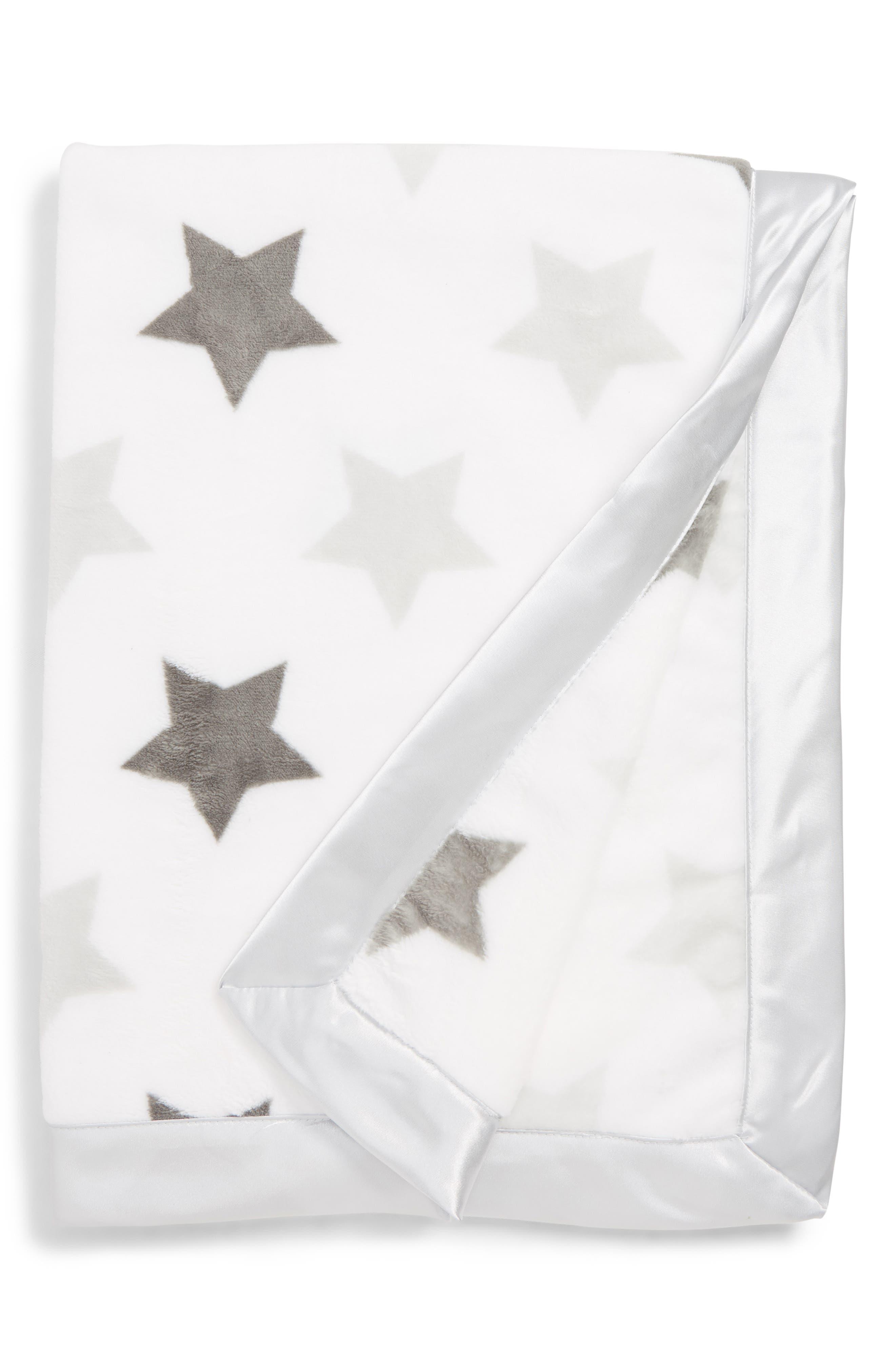 NORDSTROM BABY, Print Plush Blanket, Main thumbnail 1, color, GREY MICRO STARS