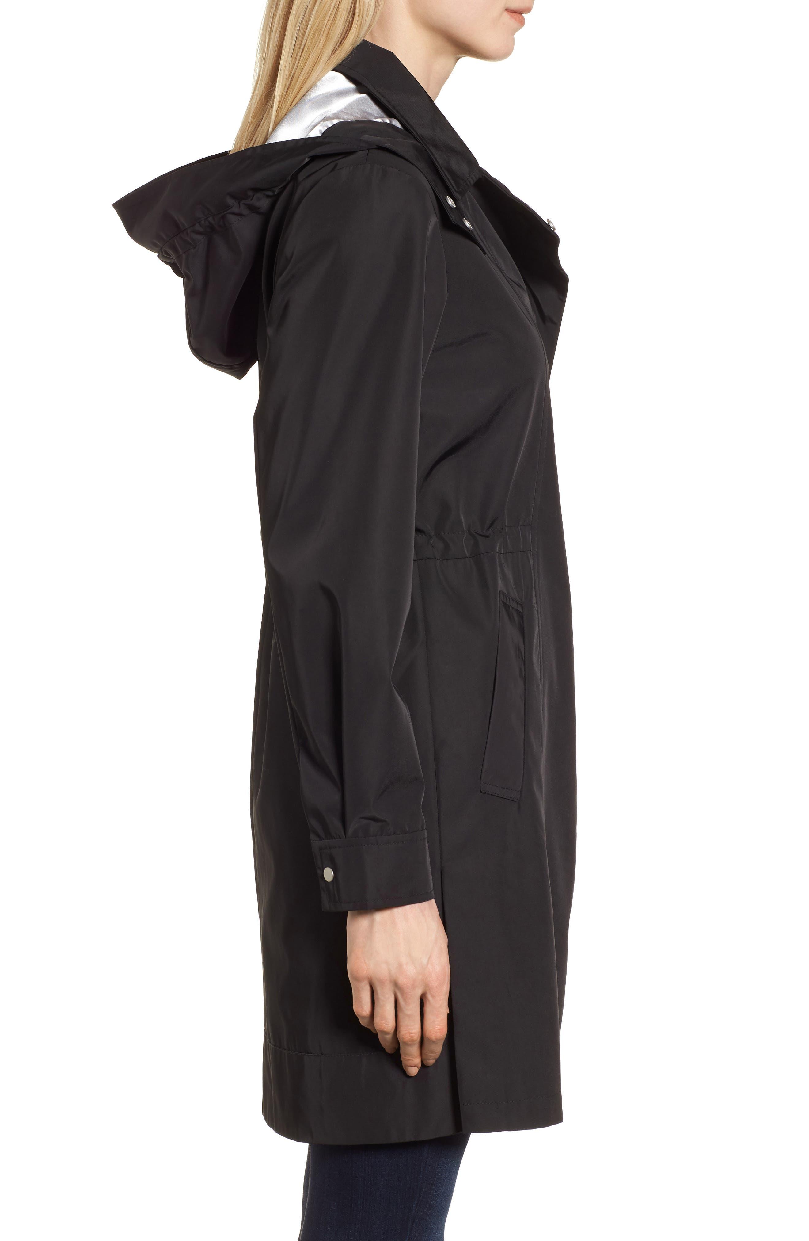 KRISTEN BLAKE, Tech Hooded Trench Coat, Alternate thumbnail 4, color, BLACK