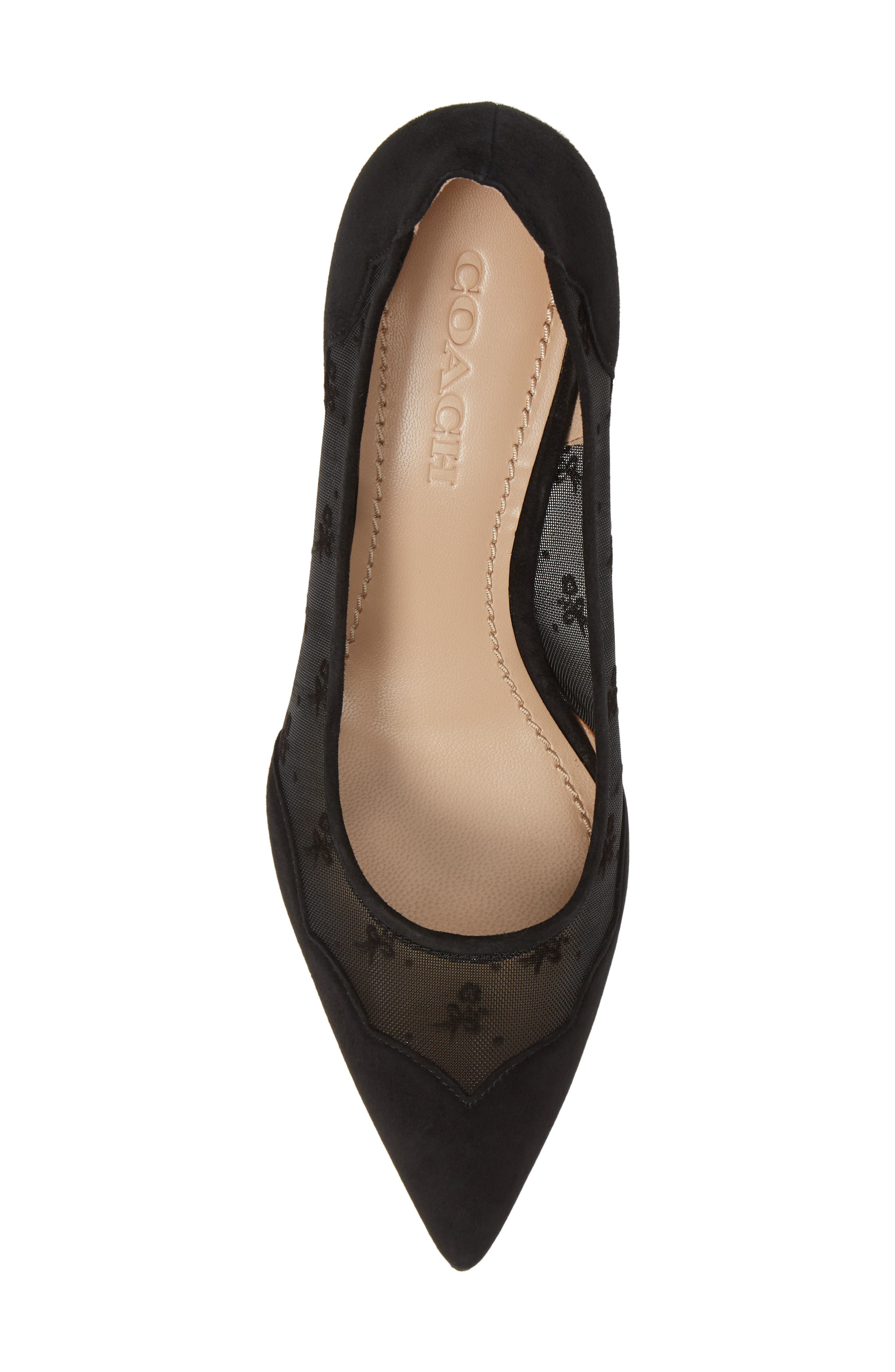 COACH, Whitley Scallop Pointy Toe Pump, Alternate thumbnail 5, color, BLACK SUEDE