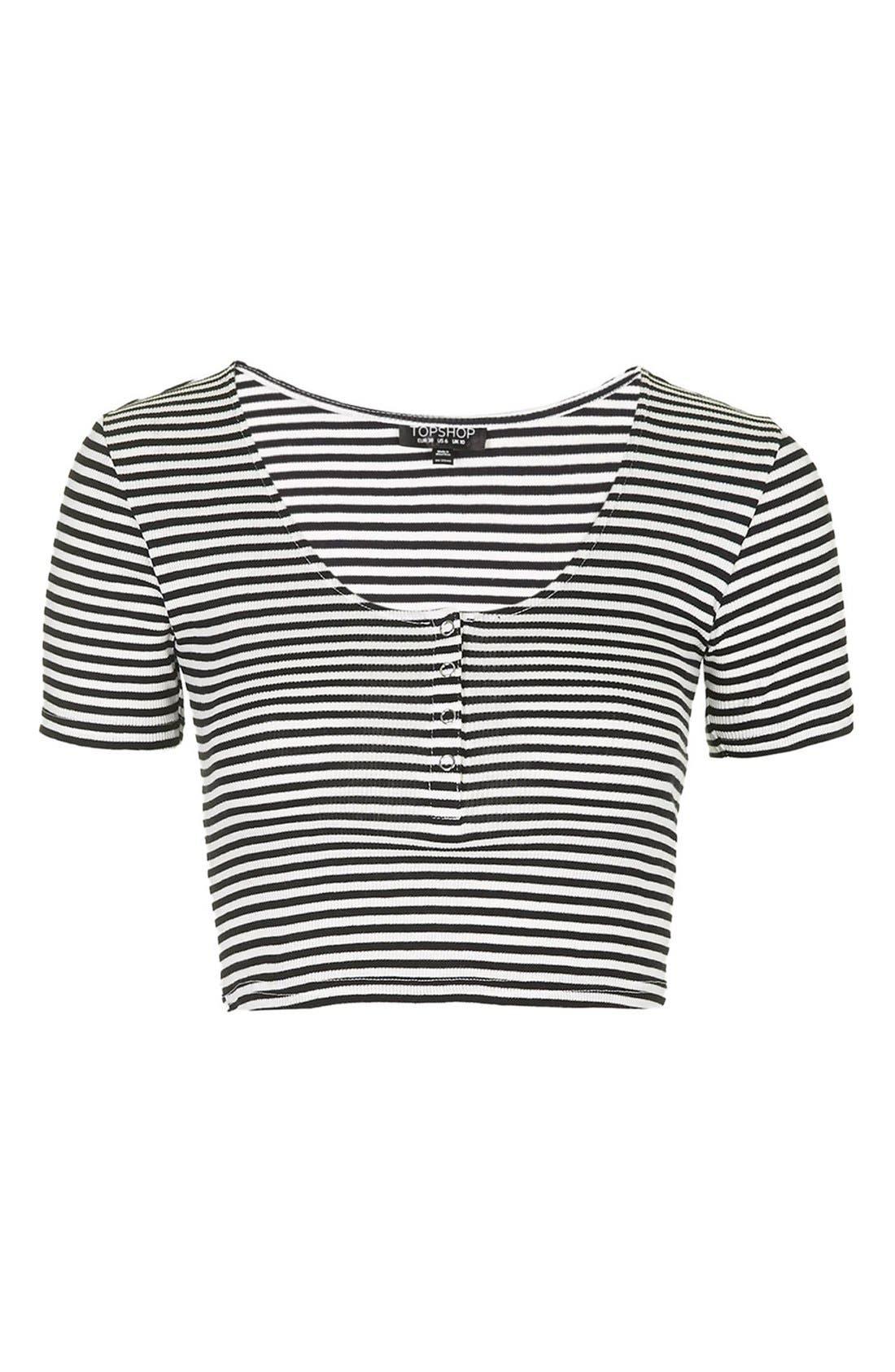 TOPSHOP, Short Sleeve Henley Crop Top, Alternate thumbnail 2, color, 900
