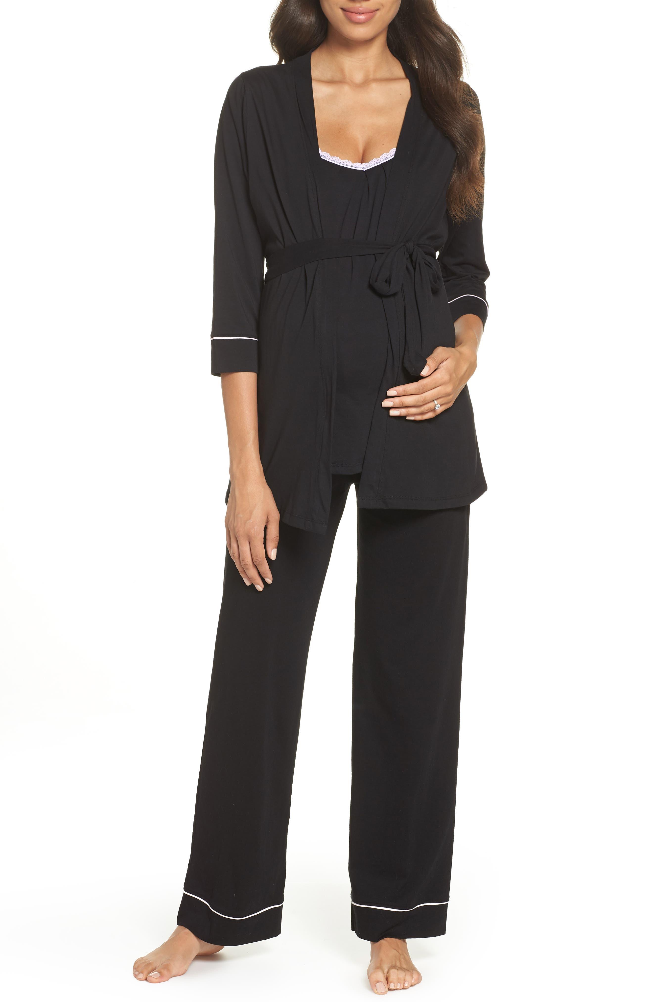 BELABUMBUM Maternity/Nursing Robe & Pajamas, Main, color, BLACK