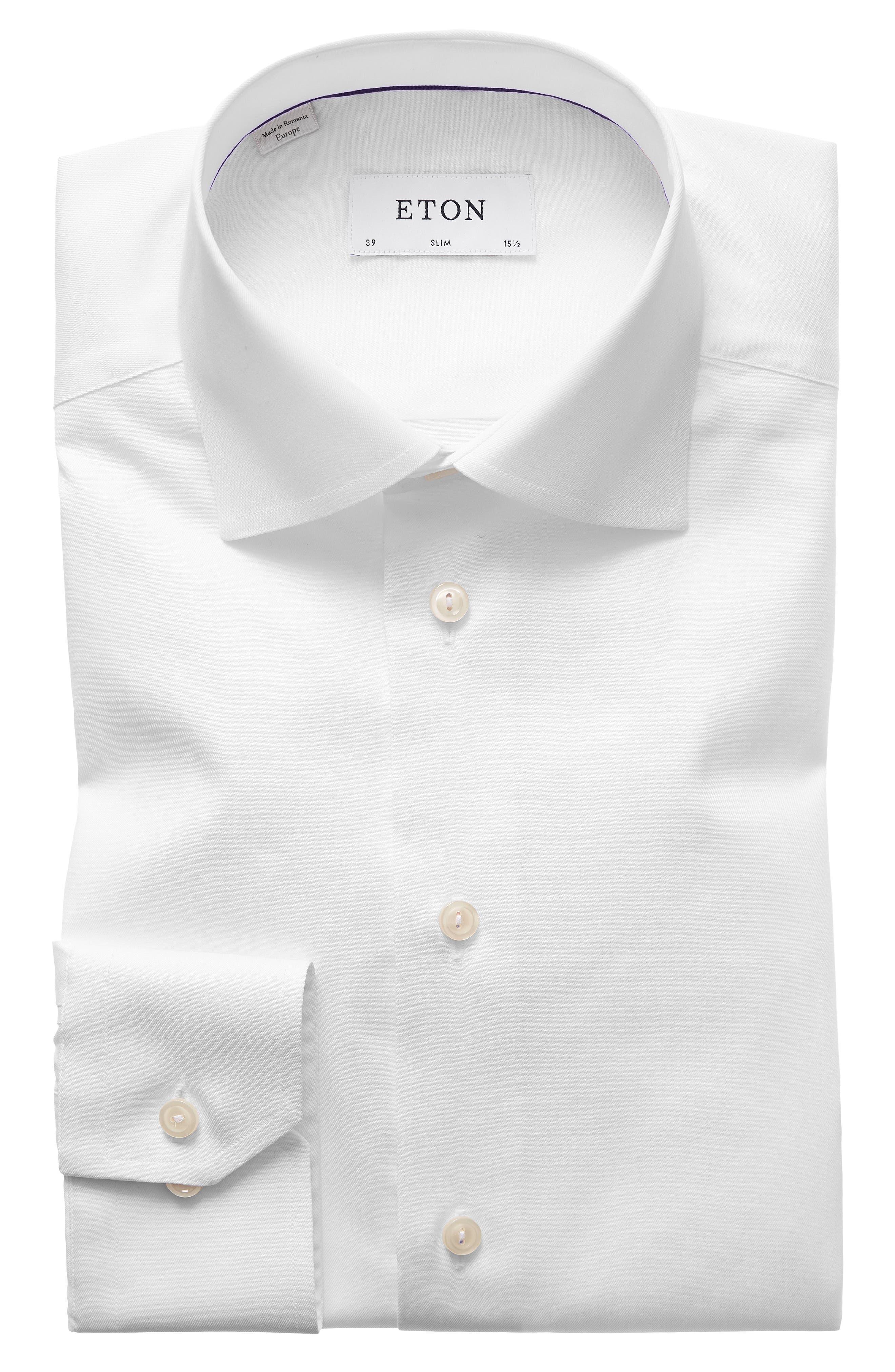 ETON, Slim Fit Twill Dress Shirt, Alternate thumbnail 4, color, WHITE