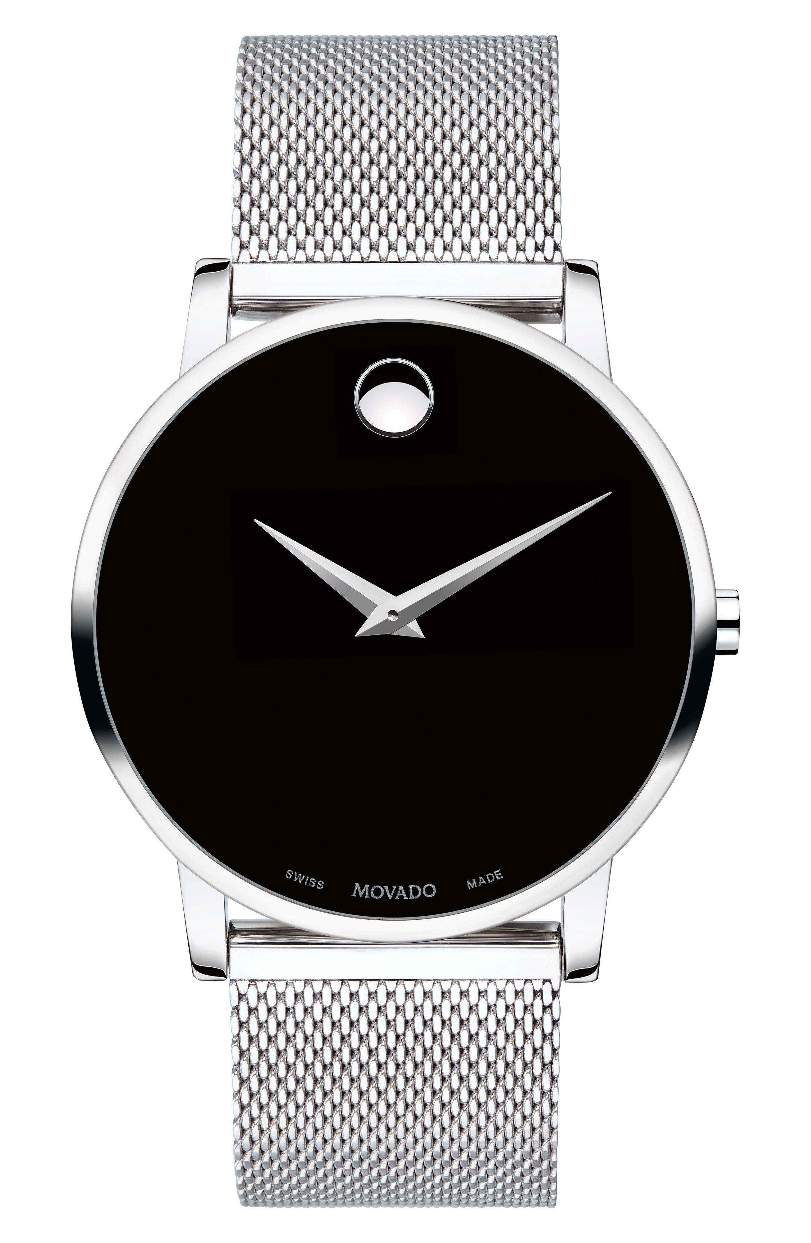 MOVADO, Museum Mesh Strap Watch, 40mm, Main thumbnail 1, color, SILVER/ BLACK/ SILVER