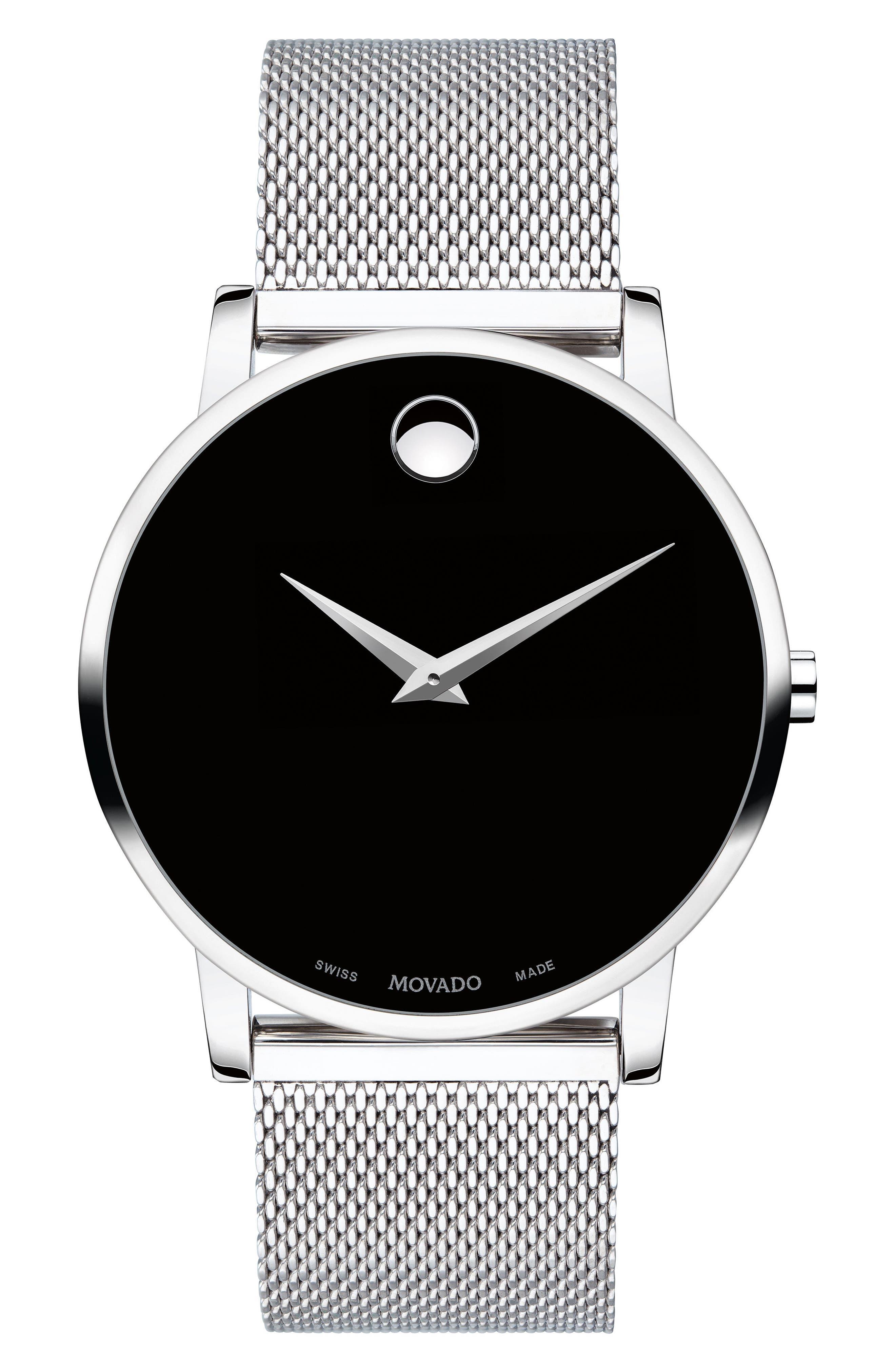 MOVADO Museum Mesh Strap Watch, 40mm, Main, color, SILVER/ BLACK/ SILVER