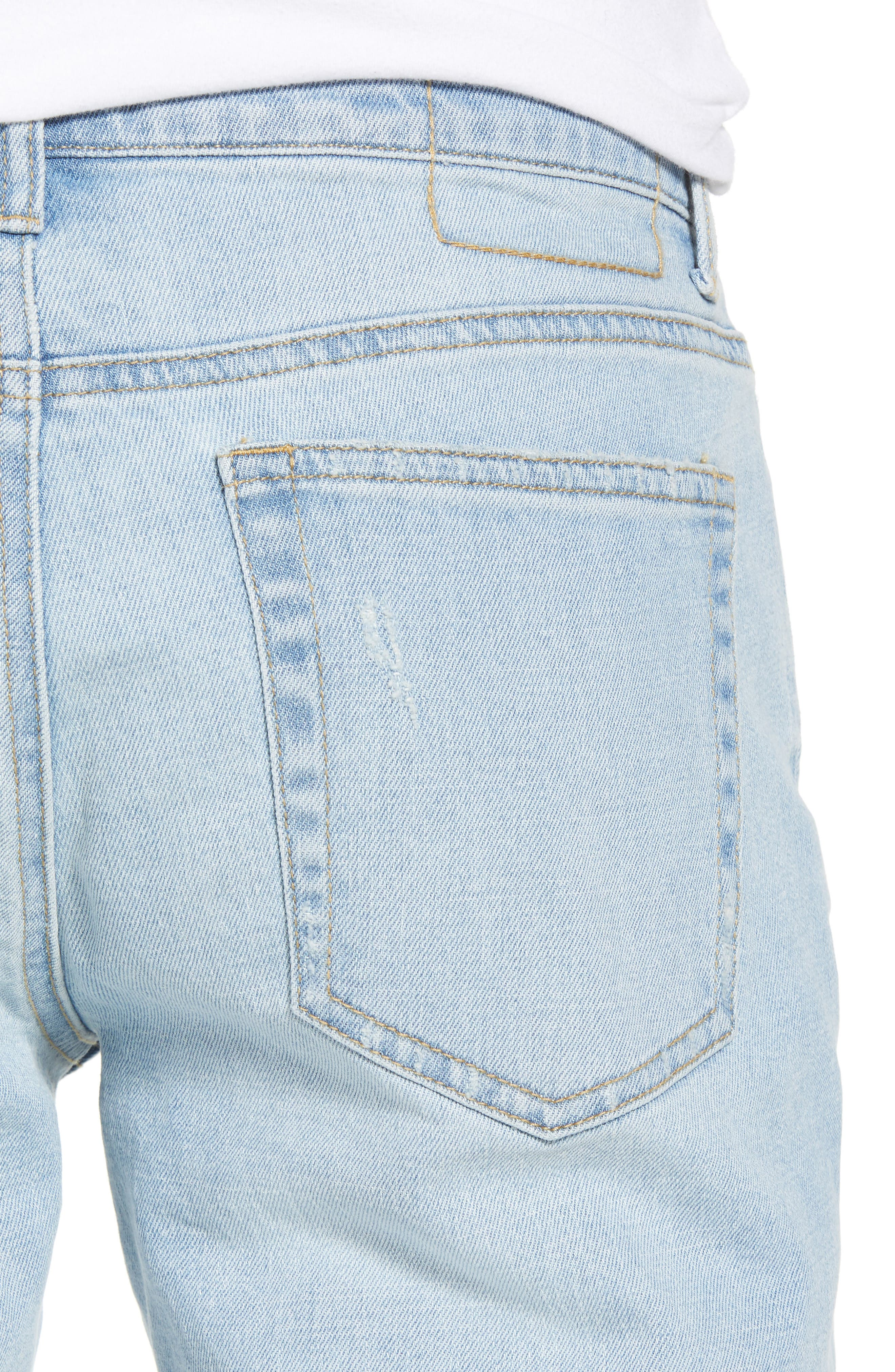 THE RAIL, Ripped Skinny Jeans, Alternate thumbnail 5, color, BLUE CORGAN WASH