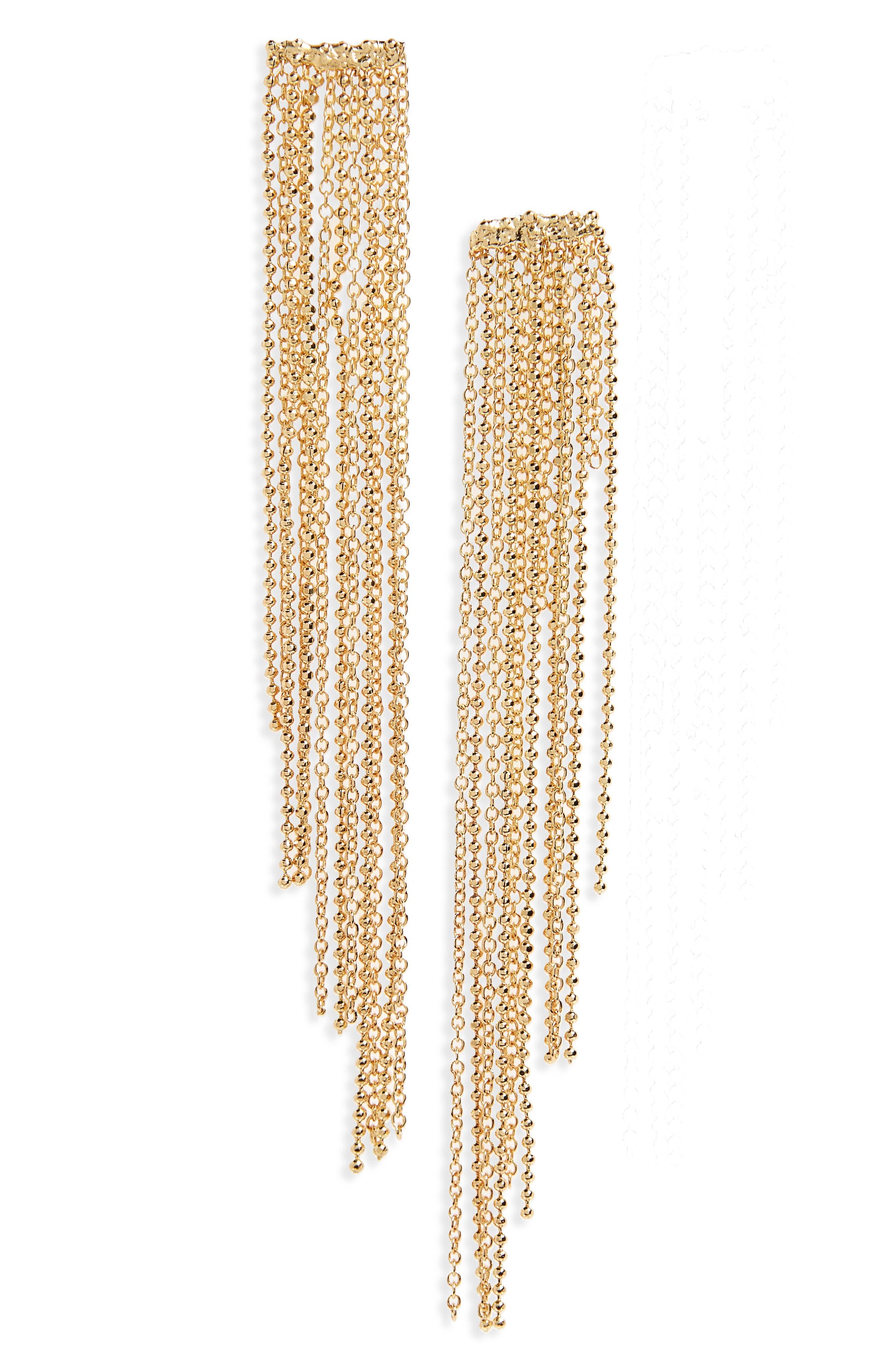 PANACEA, Chain Fringe Earrings, Main thumbnail 1, color, 710