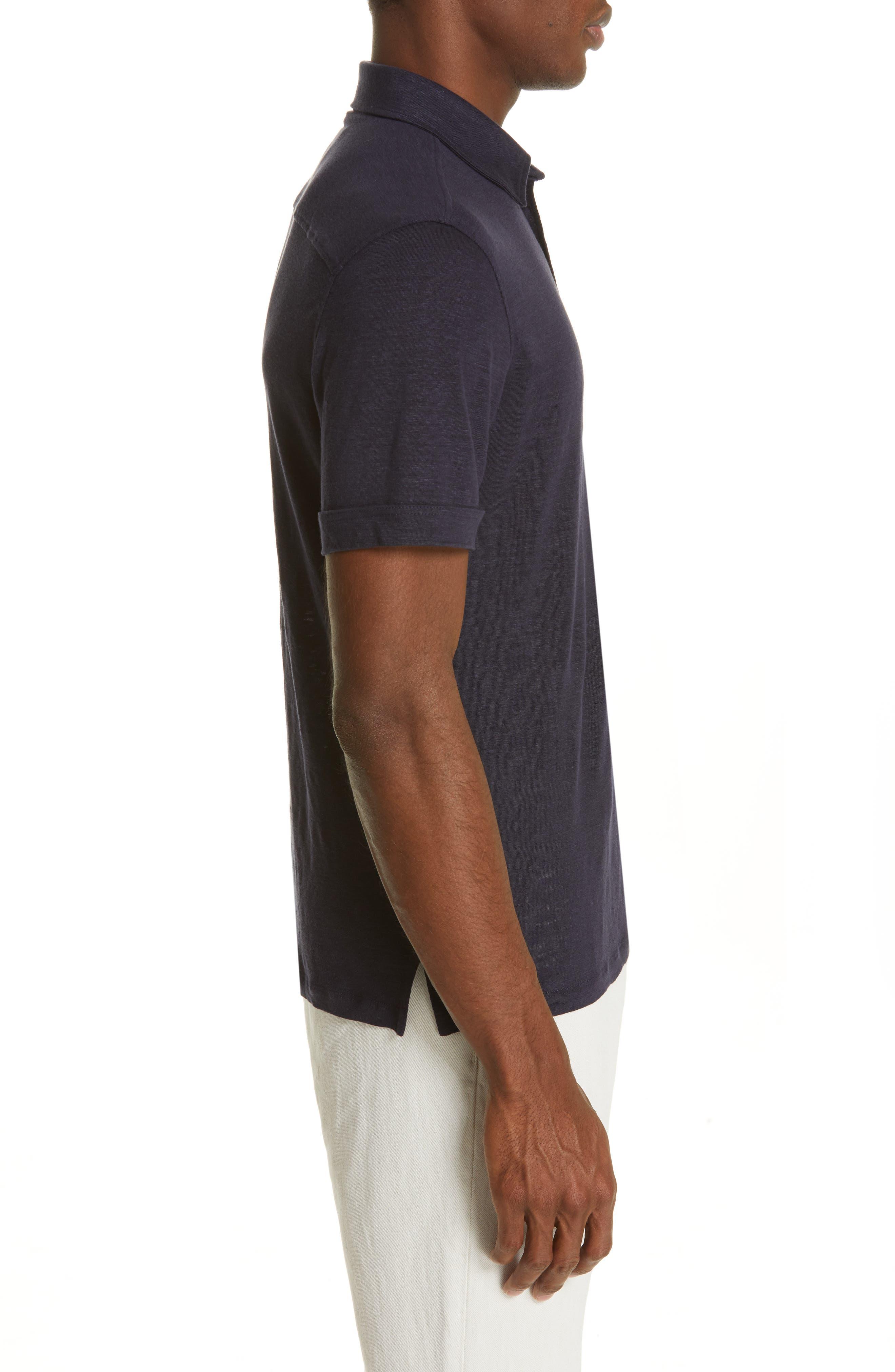 ERMENEGILDO ZEGNA, Ermenegilda Zegna Linen Polo Shirt, Alternate thumbnail 3, color, NAVY