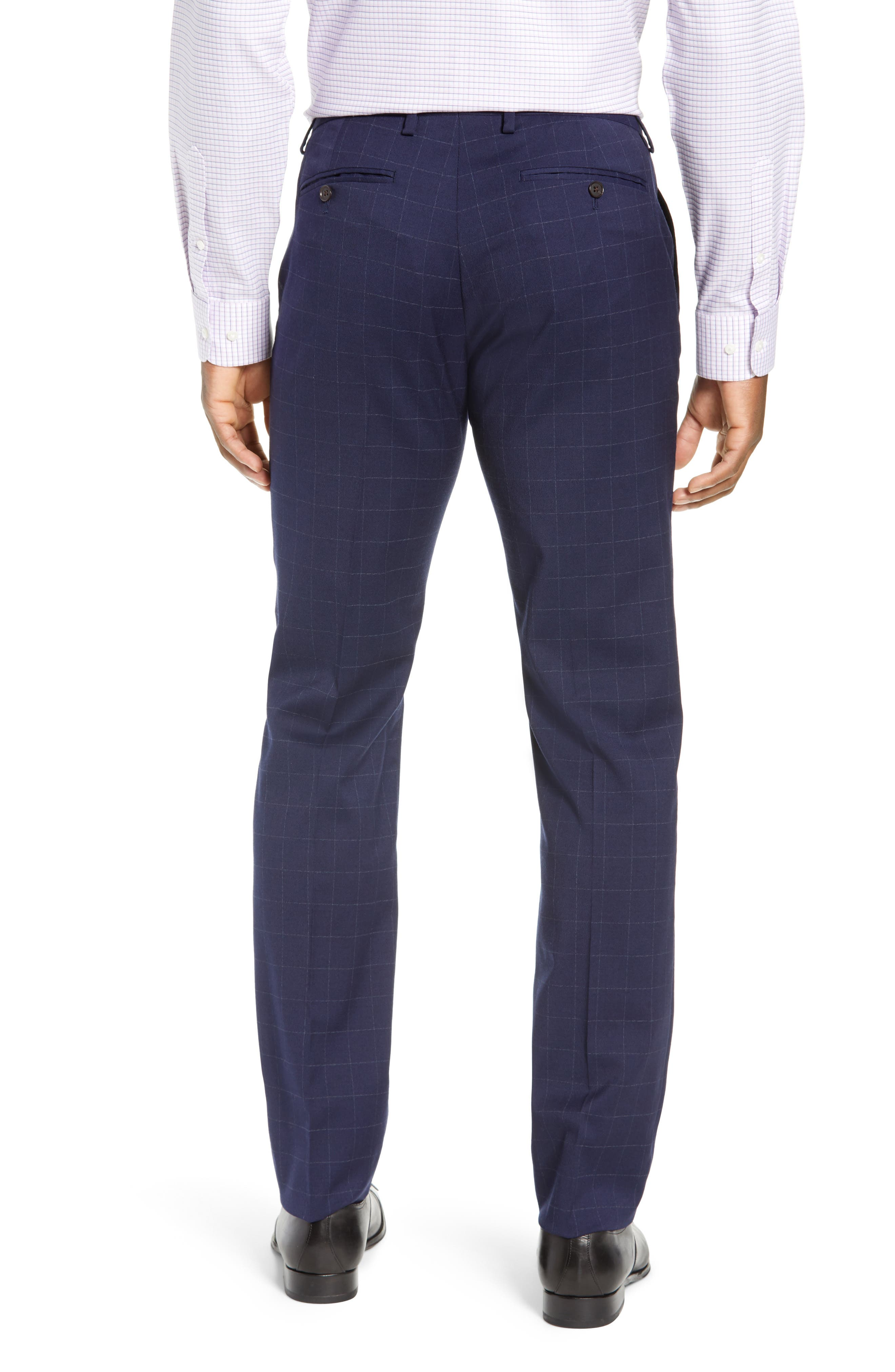 BONOBOS, Jetsetter Slim Fit Stretch Suit Pants, Alternate thumbnail 2, color, NAVY CHALK WINDOWPANE