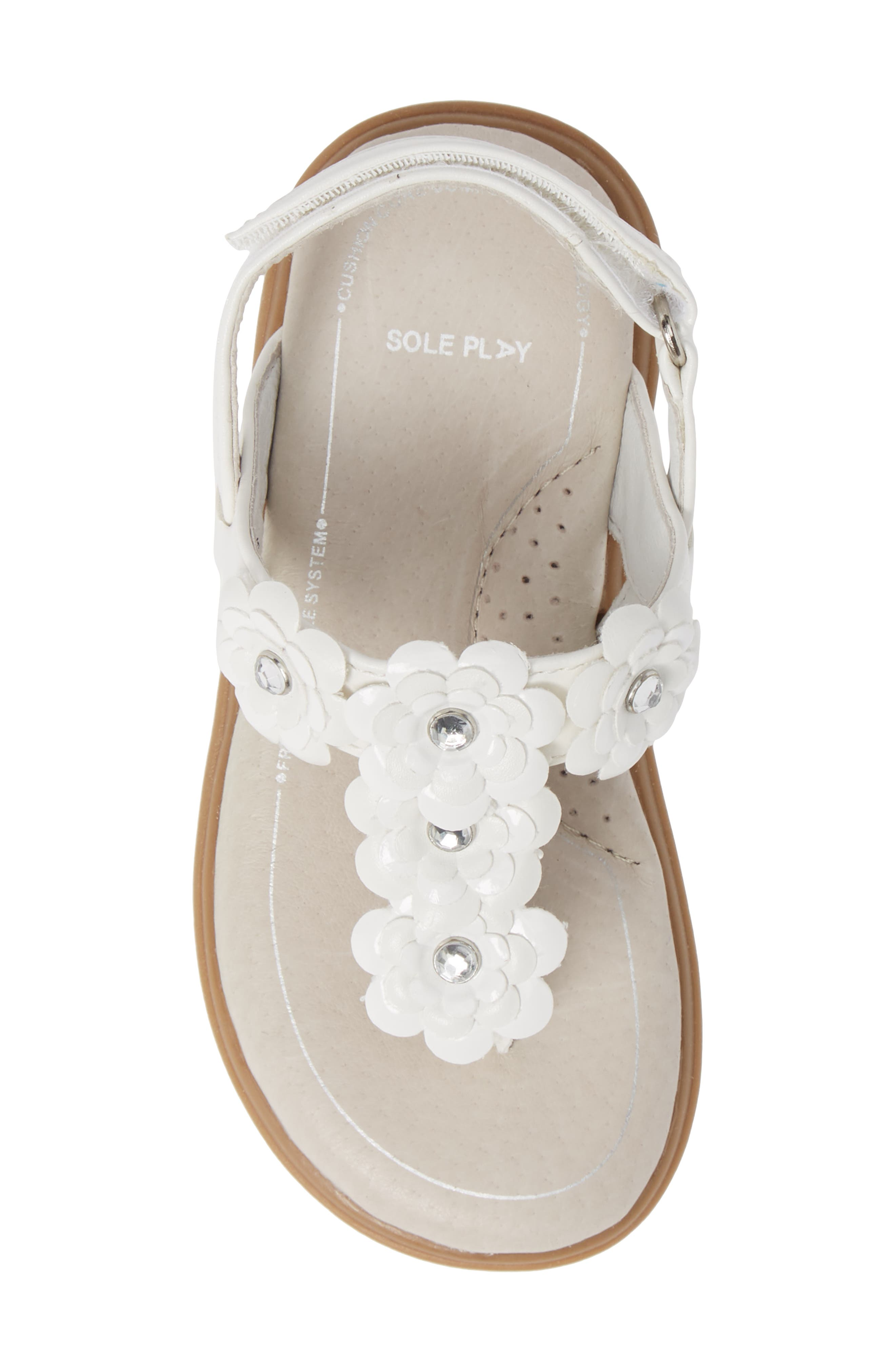 SOLE PLAY, Cora Floral Embellished Sandal, Alternate thumbnail 5, color, WHITE