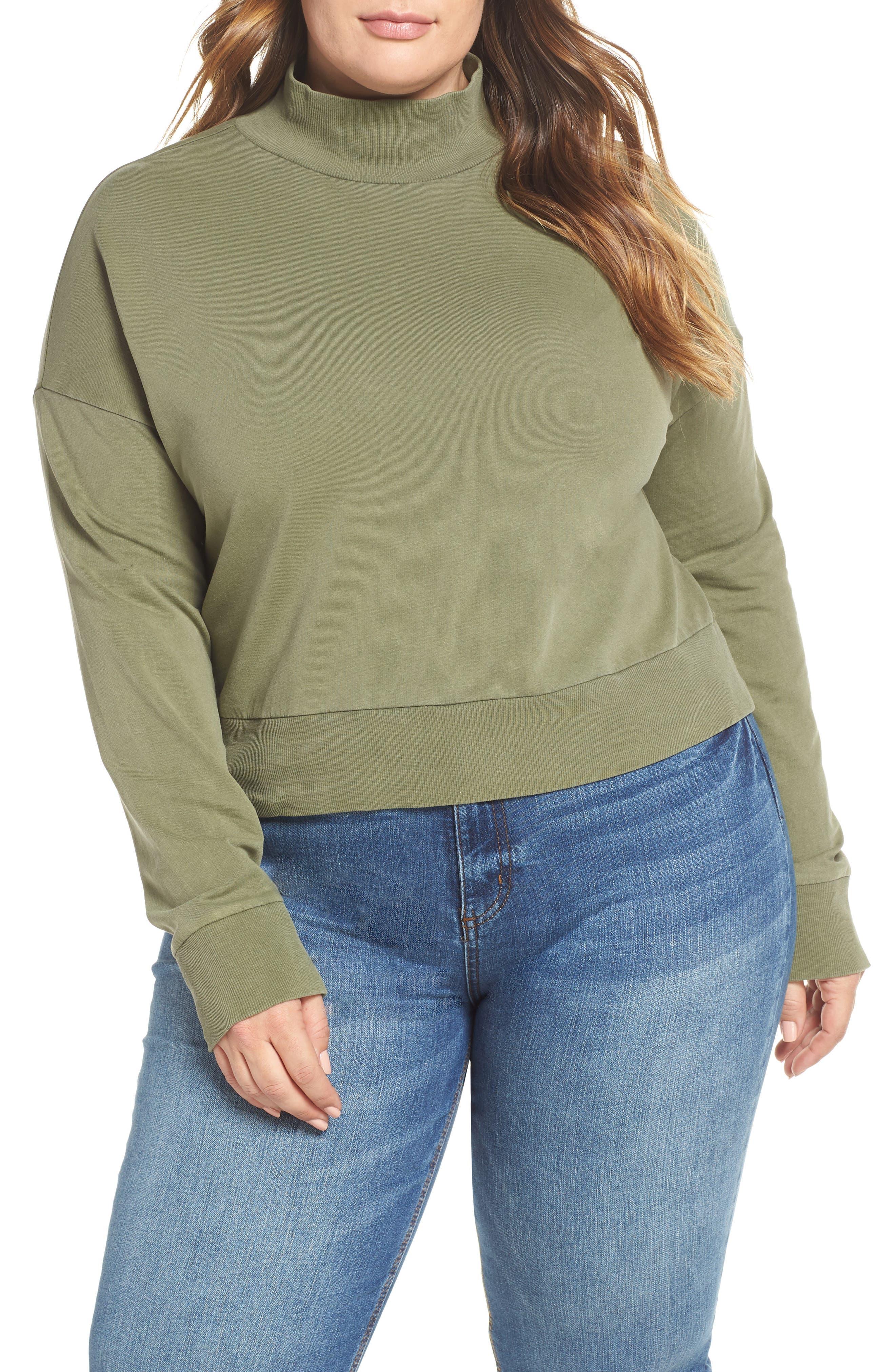 BP., Washed Mock Neck Sweatshirt, Alternate thumbnail 2, color, OLIVE BURNT