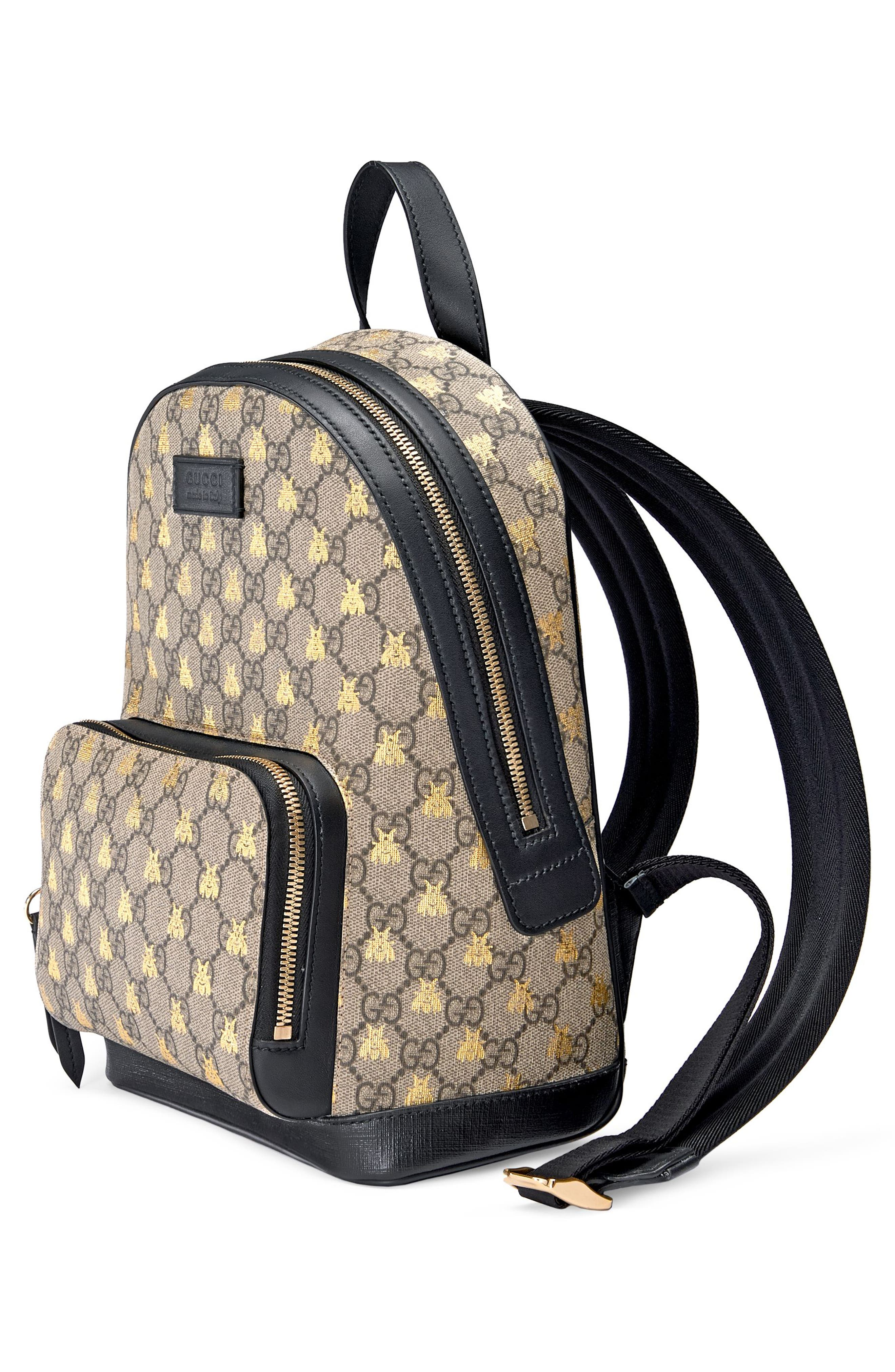 GUCCI, Bee GG Supreme Canvas Backpack, Alternate thumbnail 4, color, 250