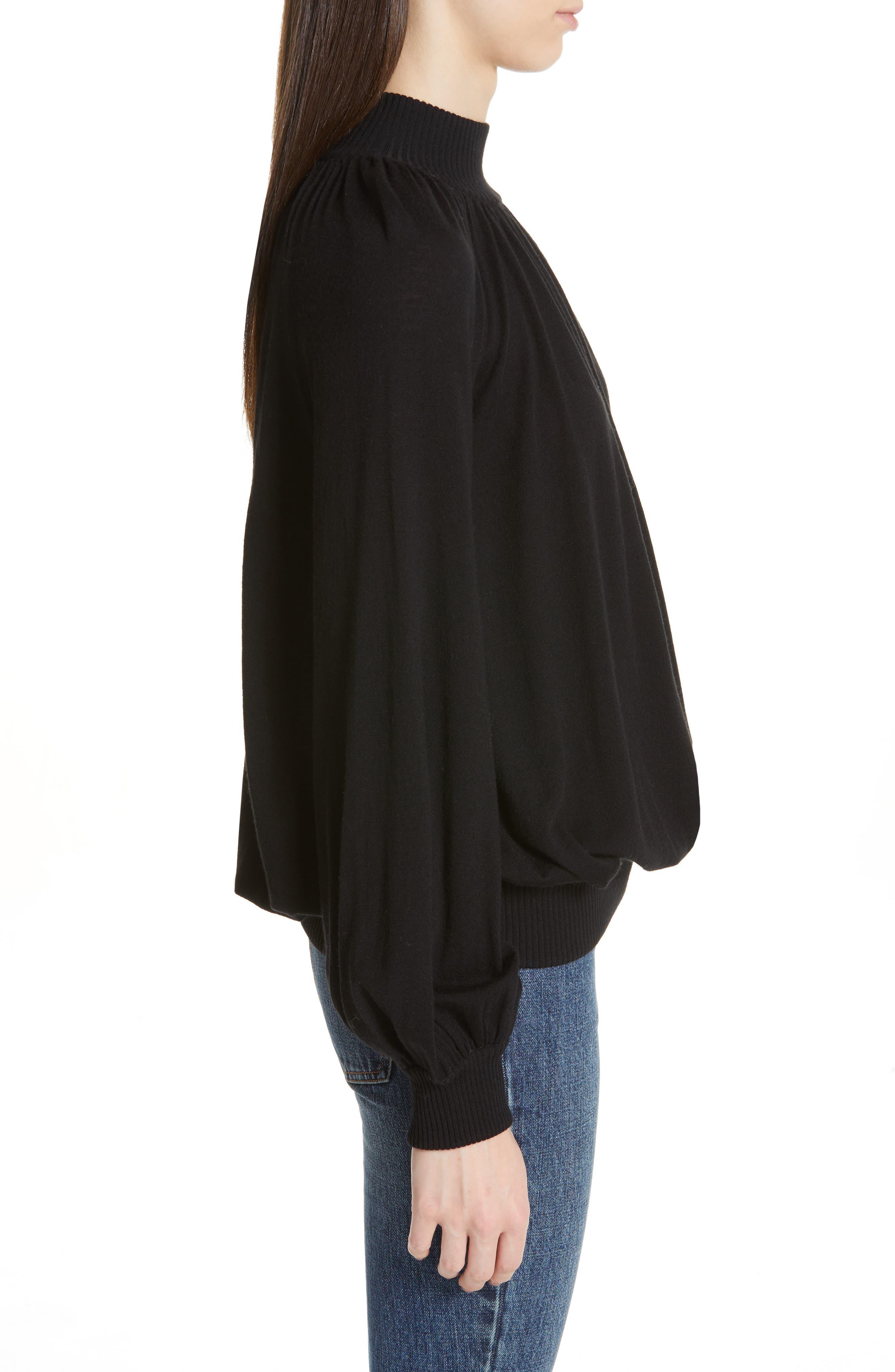 CO, Cashmere High Neck Blouson Sweater, Alternate thumbnail 3, color, BLACK