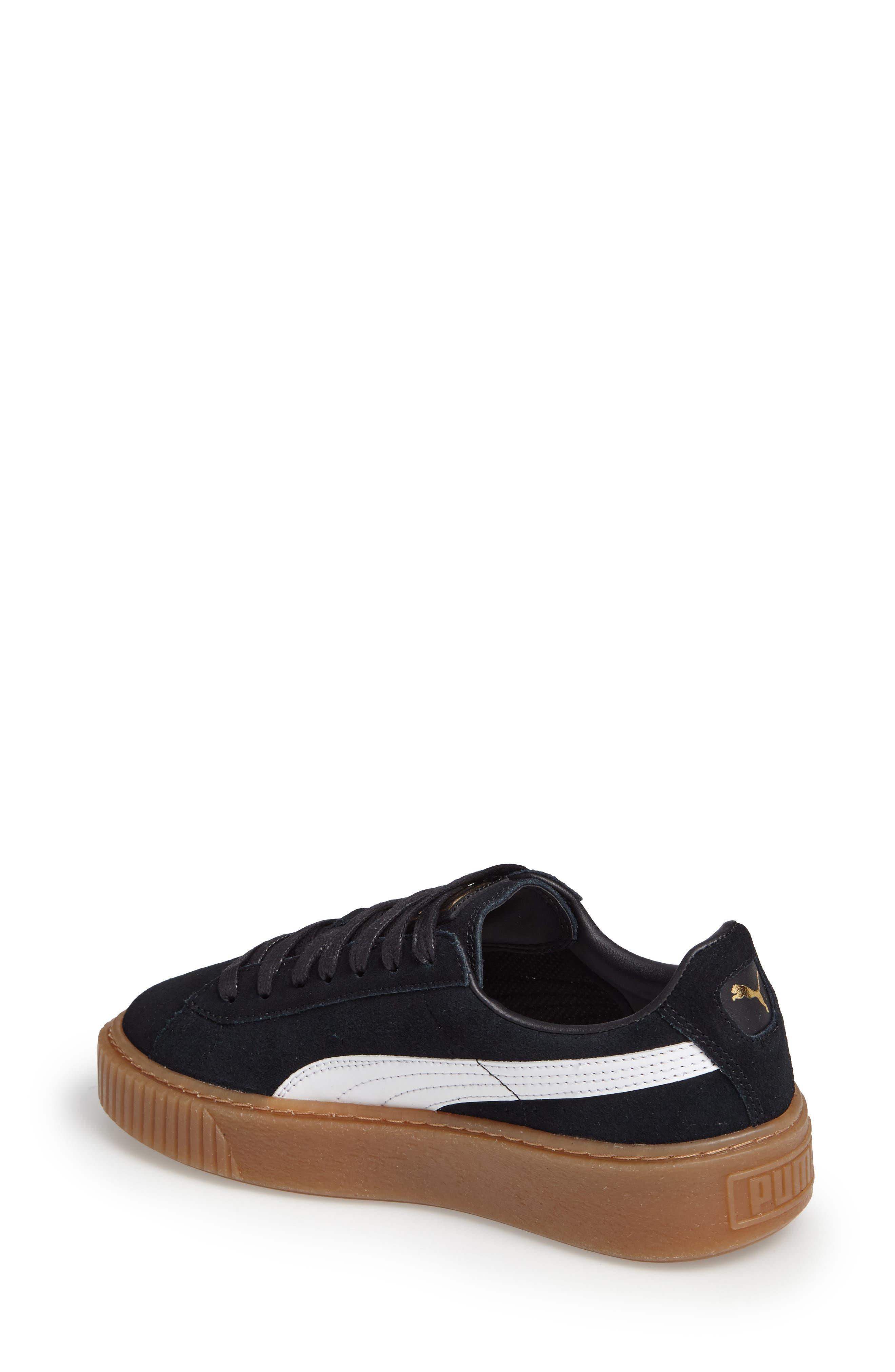 PUMA, Suede Platform Core Sneaker, Alternate thumbnail 2, color, 001
