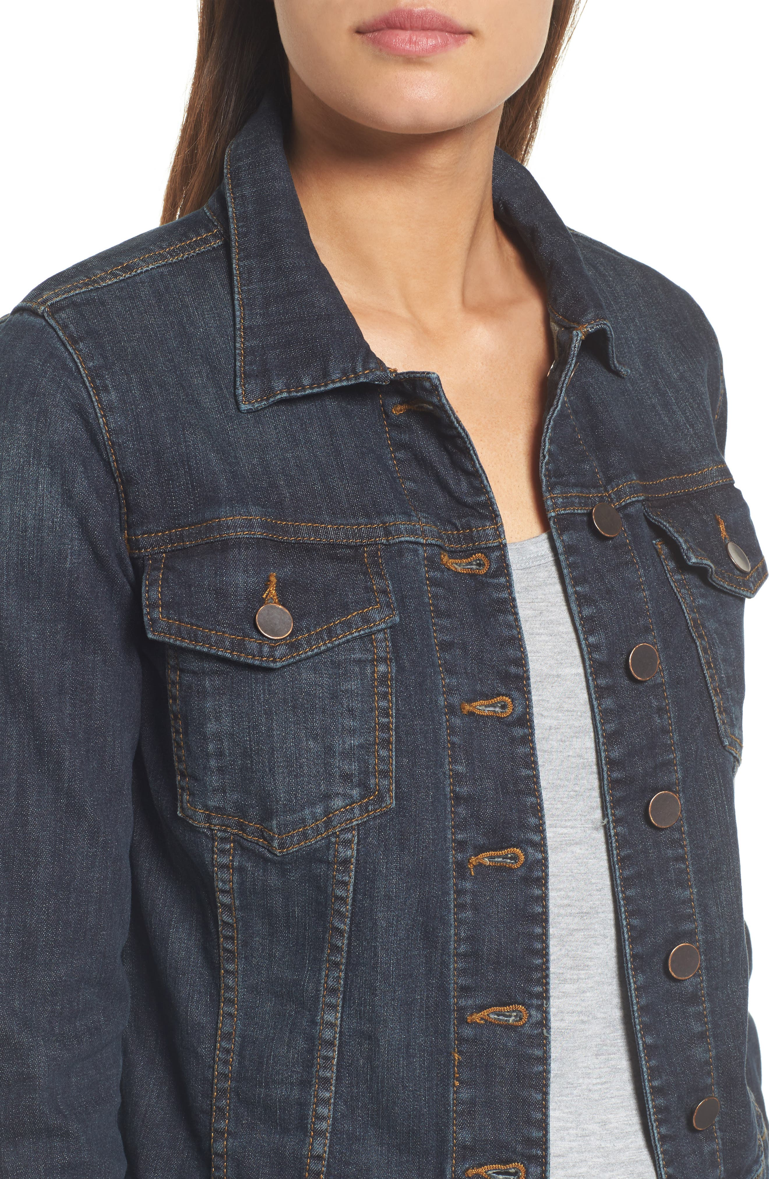 KUT FROM THE KLOTH, 'Helena' Denim Jacket, Alternate thumbnail 5, color, GRATITUDE