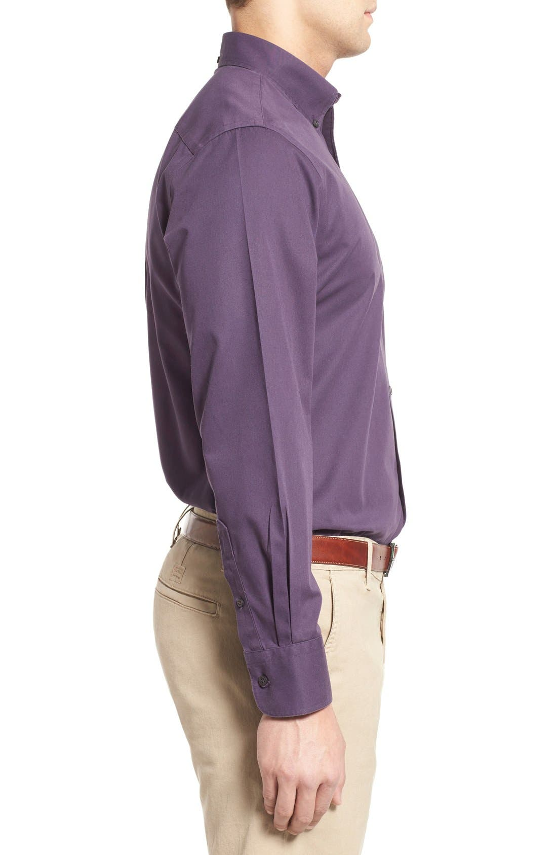 NORDSTROM MEN'S SHOP, Smartcare<sup>™</sup> Traditional Fit Twill Boat Shirt, Alternate thumbnail 3, color, PURPLE NIGHT