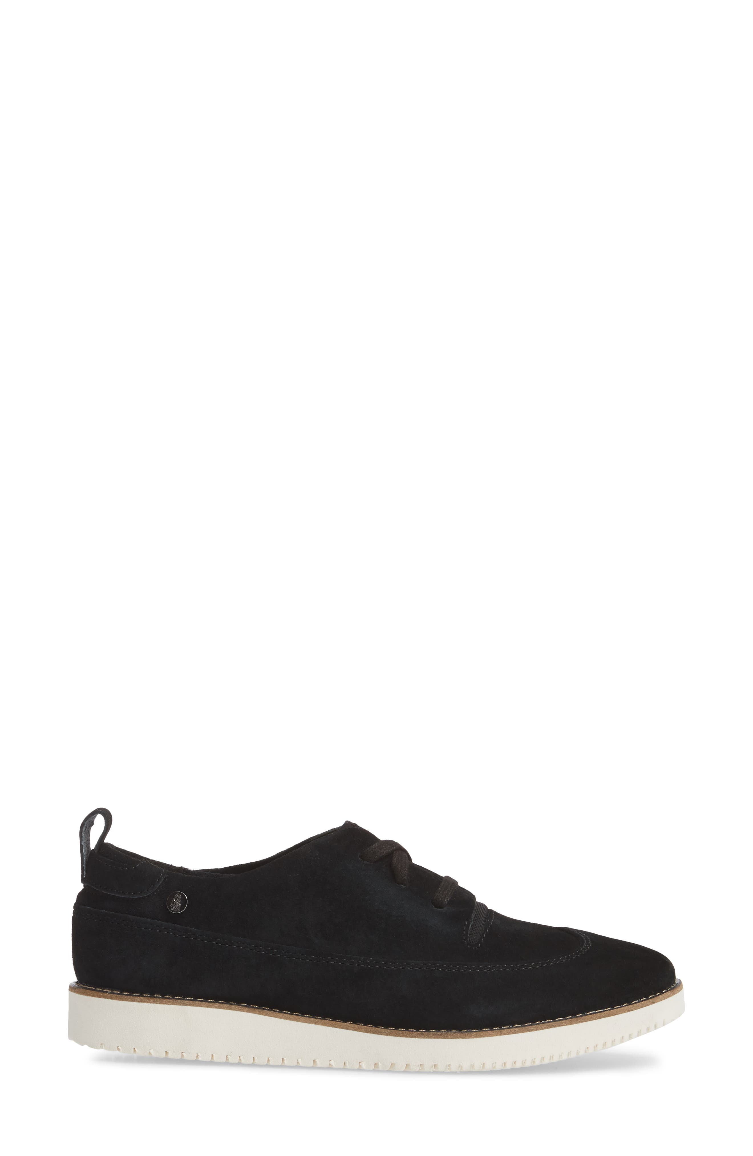 HUSH PUPPIES<SUP>®</SUP>, Chowchow Oxford, Alternate thumbnail 3, color, BLACK SUEDE