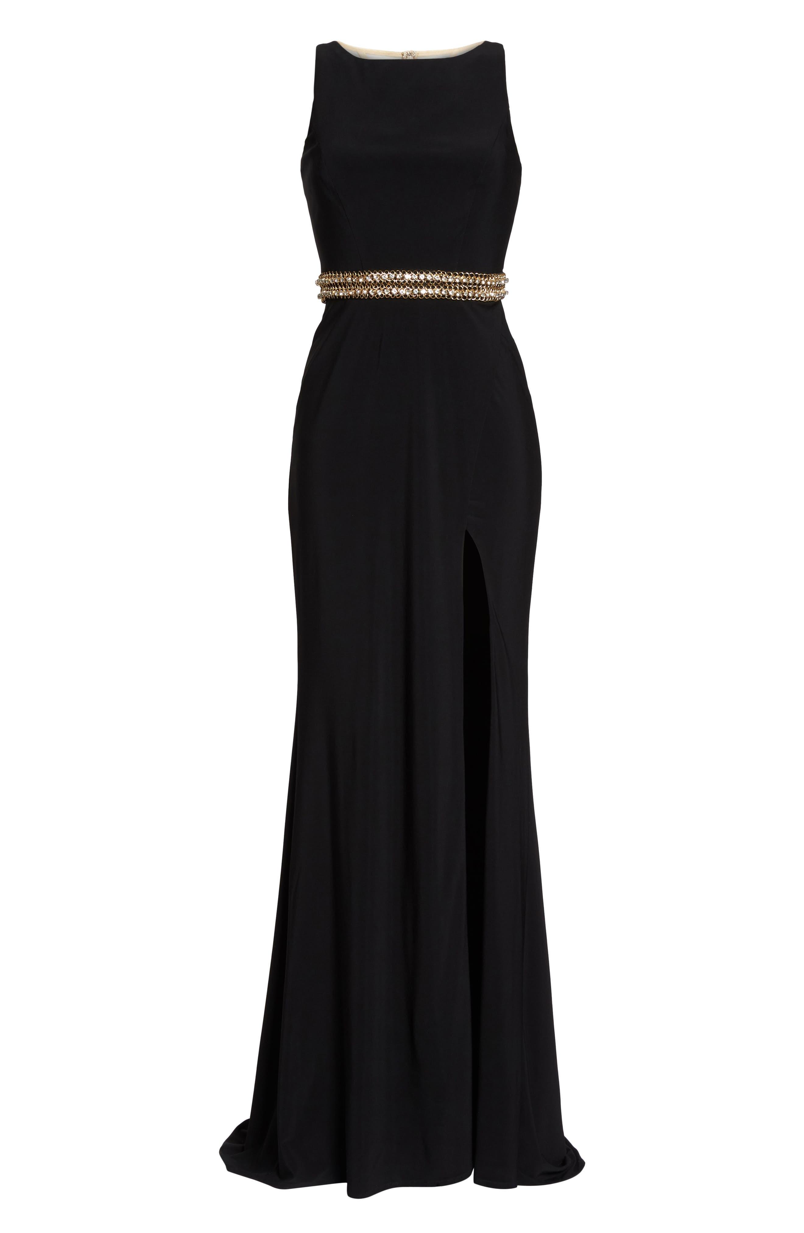 MAC DUGGAL, Embellished Waist Gown, Alternate thumbnail 6, color, BLACK