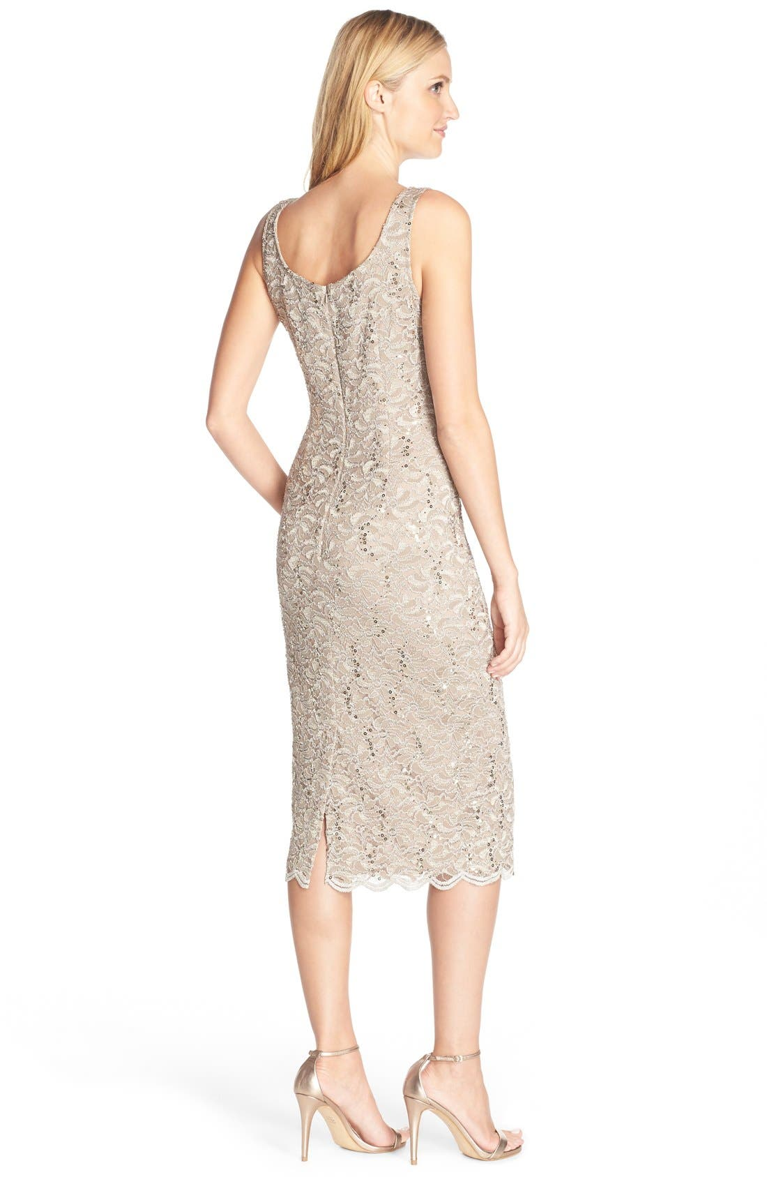 ALEX EVENINGS, Lace Dress & Jacket, Alternate thumbnail 5, color, CHAMPAGNE
