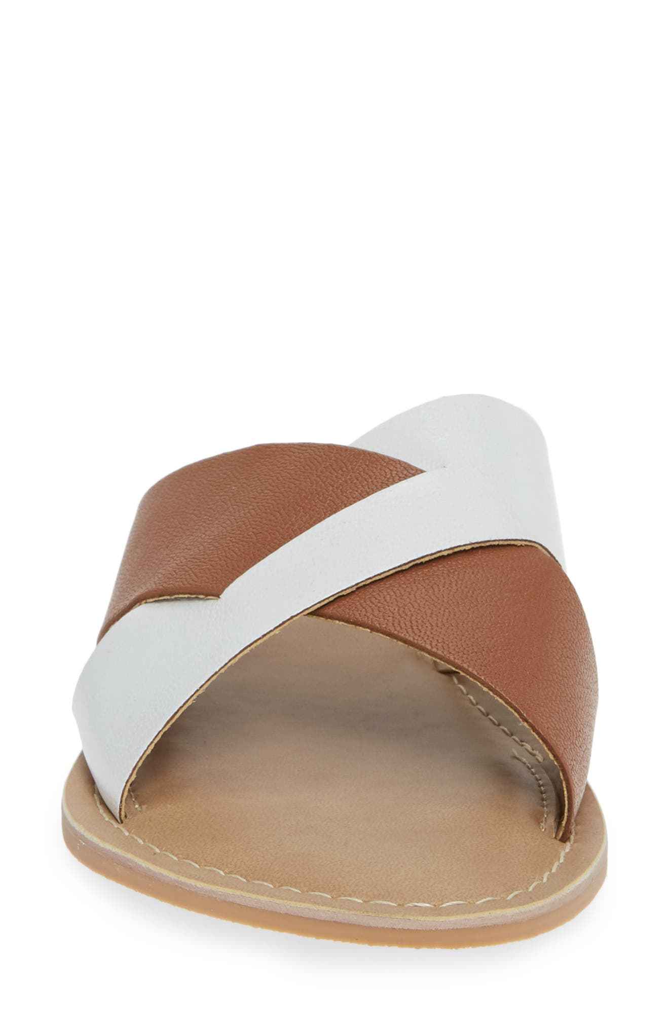COCONUTS BY MATISSE, Wilma Slide Sandal, Alternate thumbnail 4, color, TAN/ WHITE LEATHER