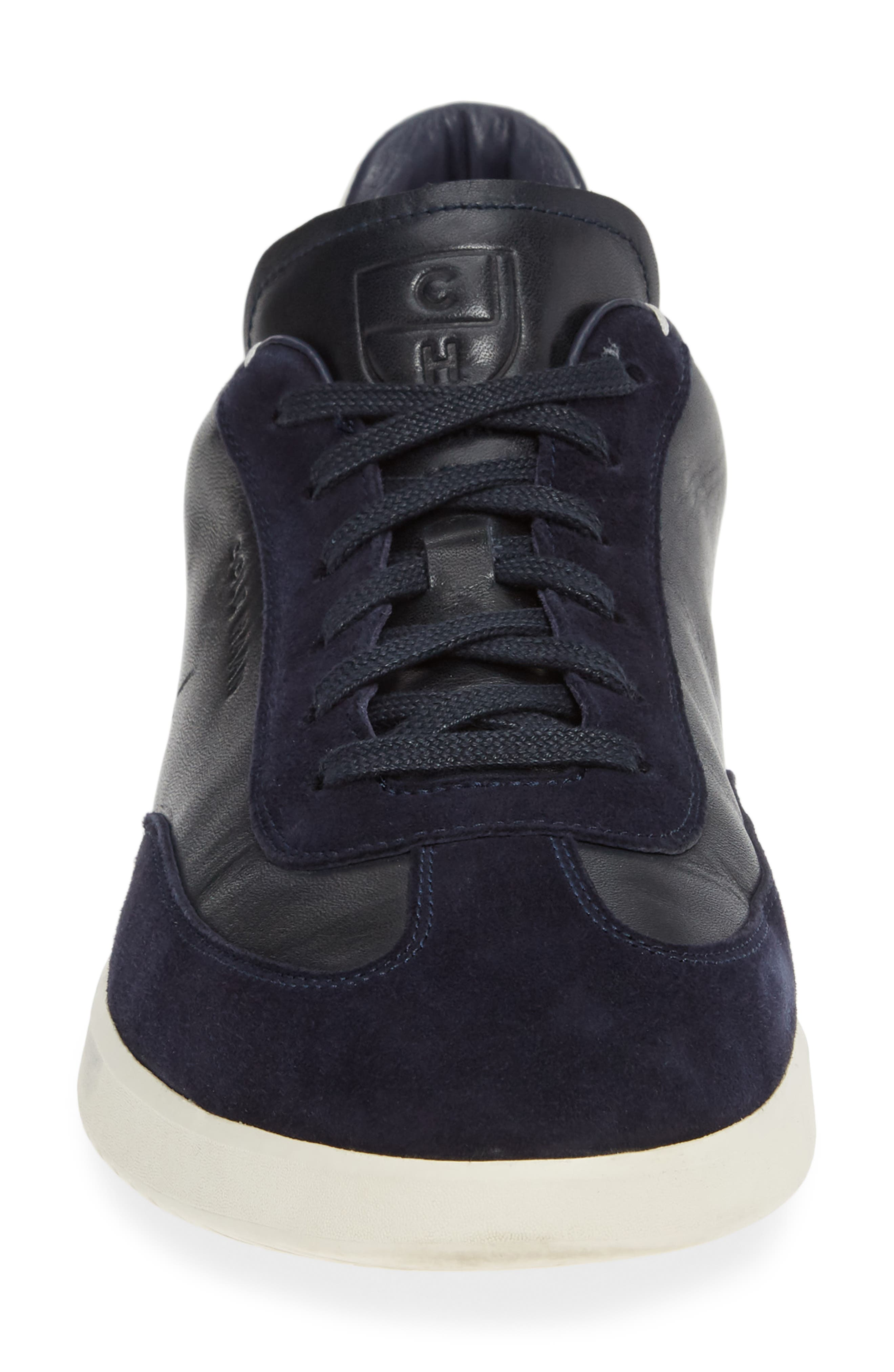 COLE HAAN, GrandPro Turf Sneaker, Alternate thumbnail 4, color, NAVY INK LEATHER
