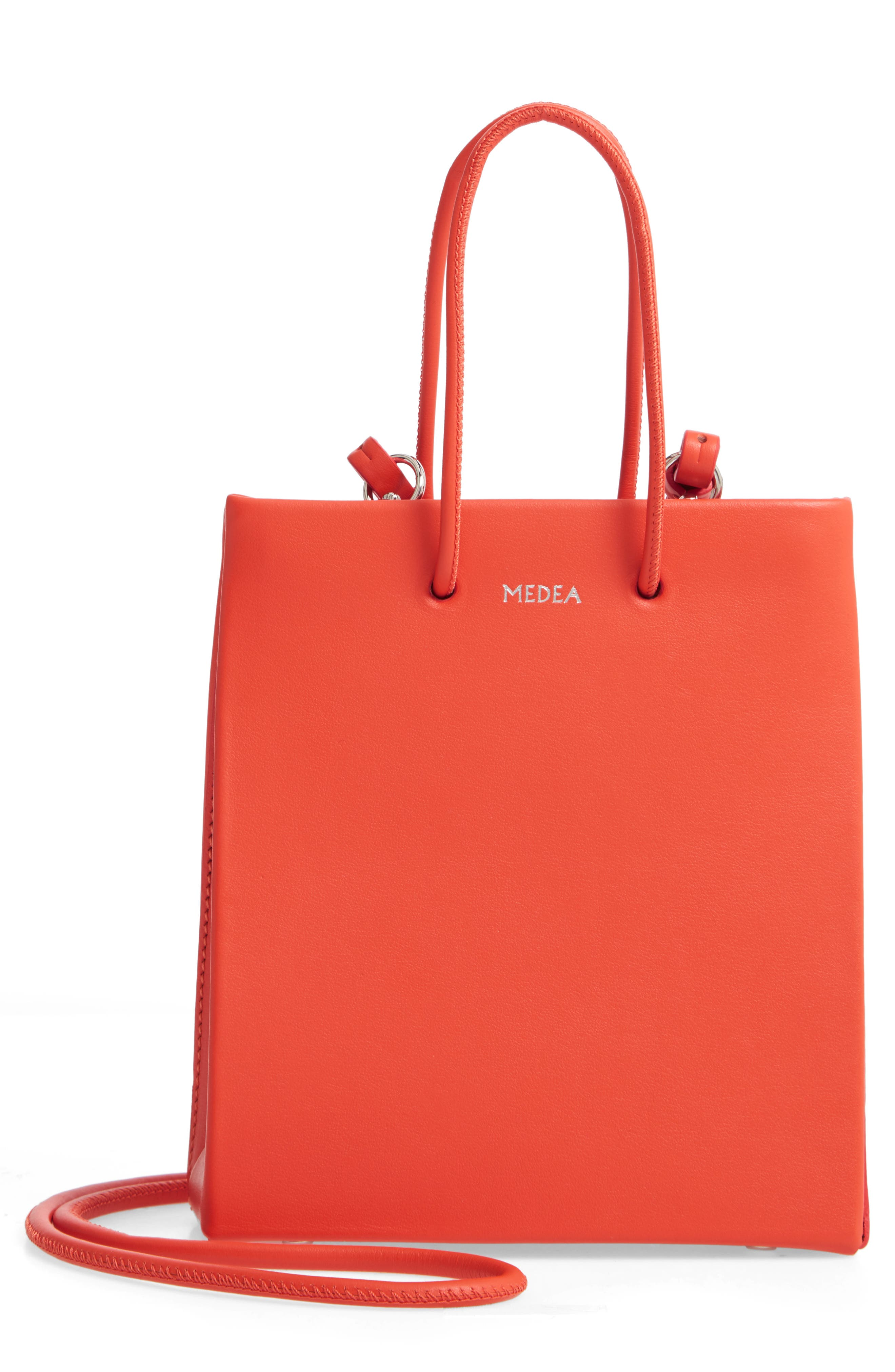 MEDEA Prima Short Calfskin Leather Bag, Main, color, ORANGE