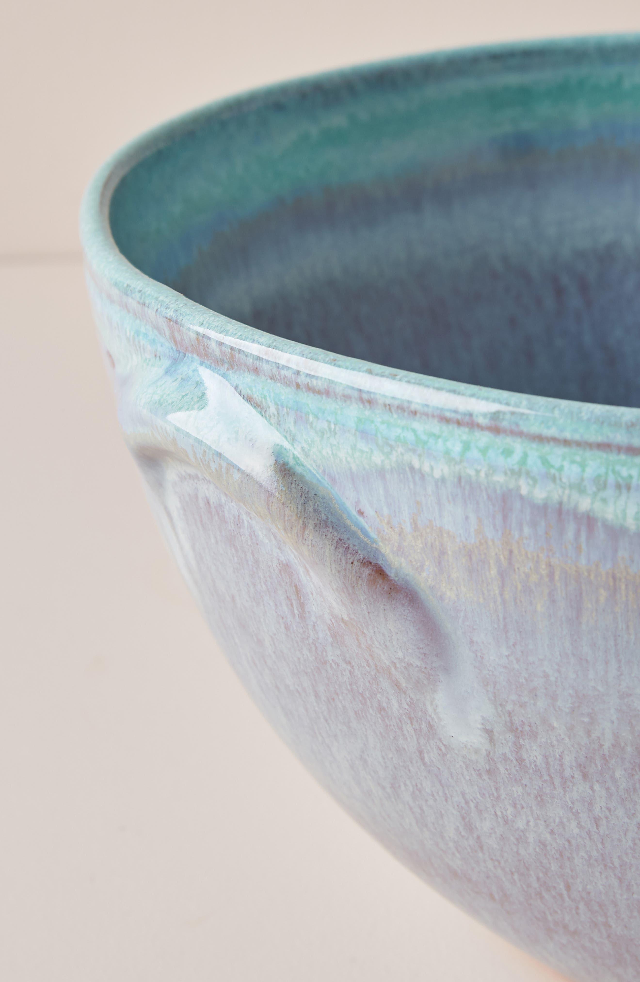 ANTHROPOLOGIE, Misty Set of 4 Bowls, Alternate thumbnail 3, color, WHITE/ MINT