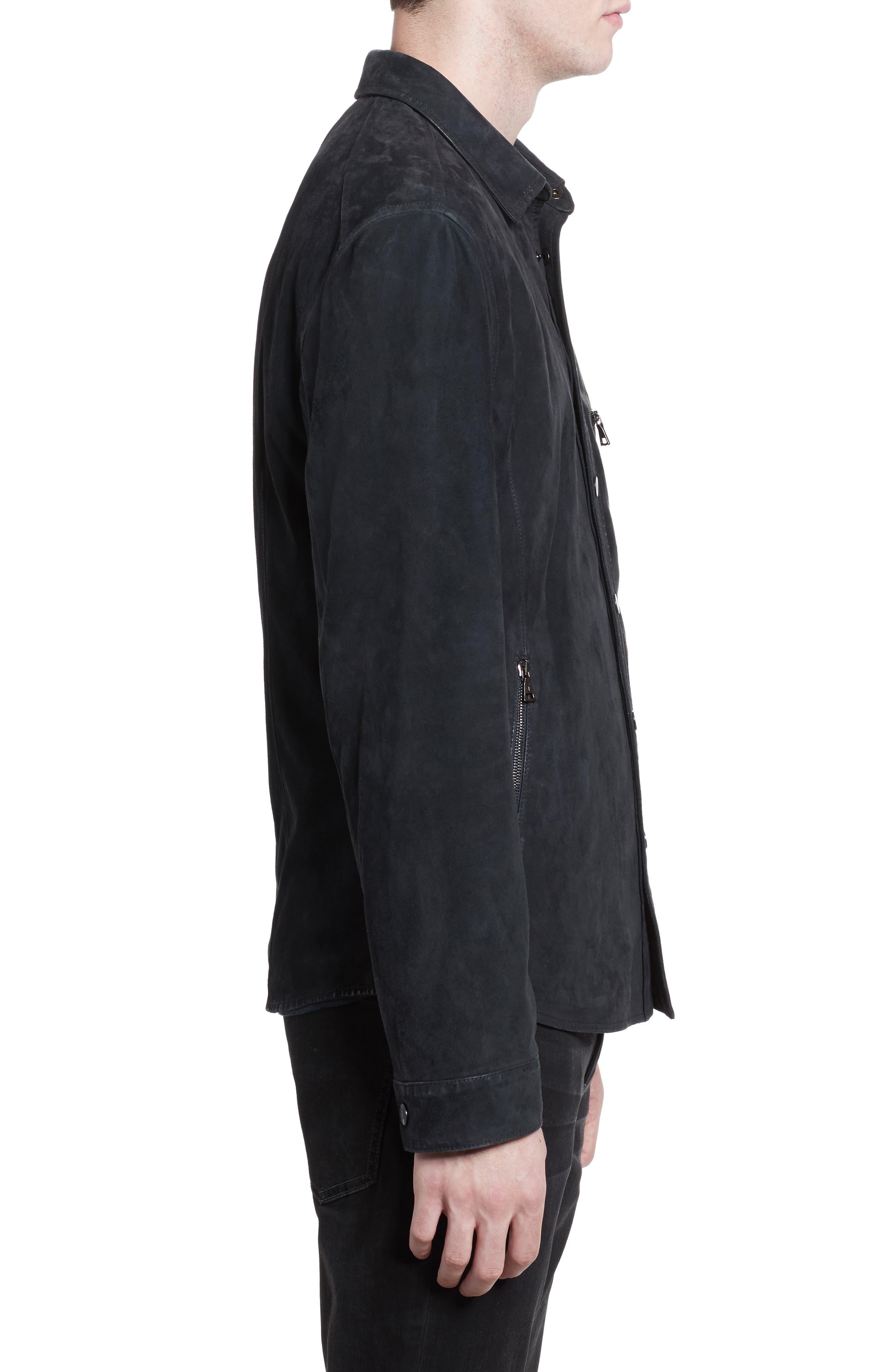 JOHN VARVATOS, Suede Shirt Jacket, Alternate thumbnail 3, color, MIDNIGHT
