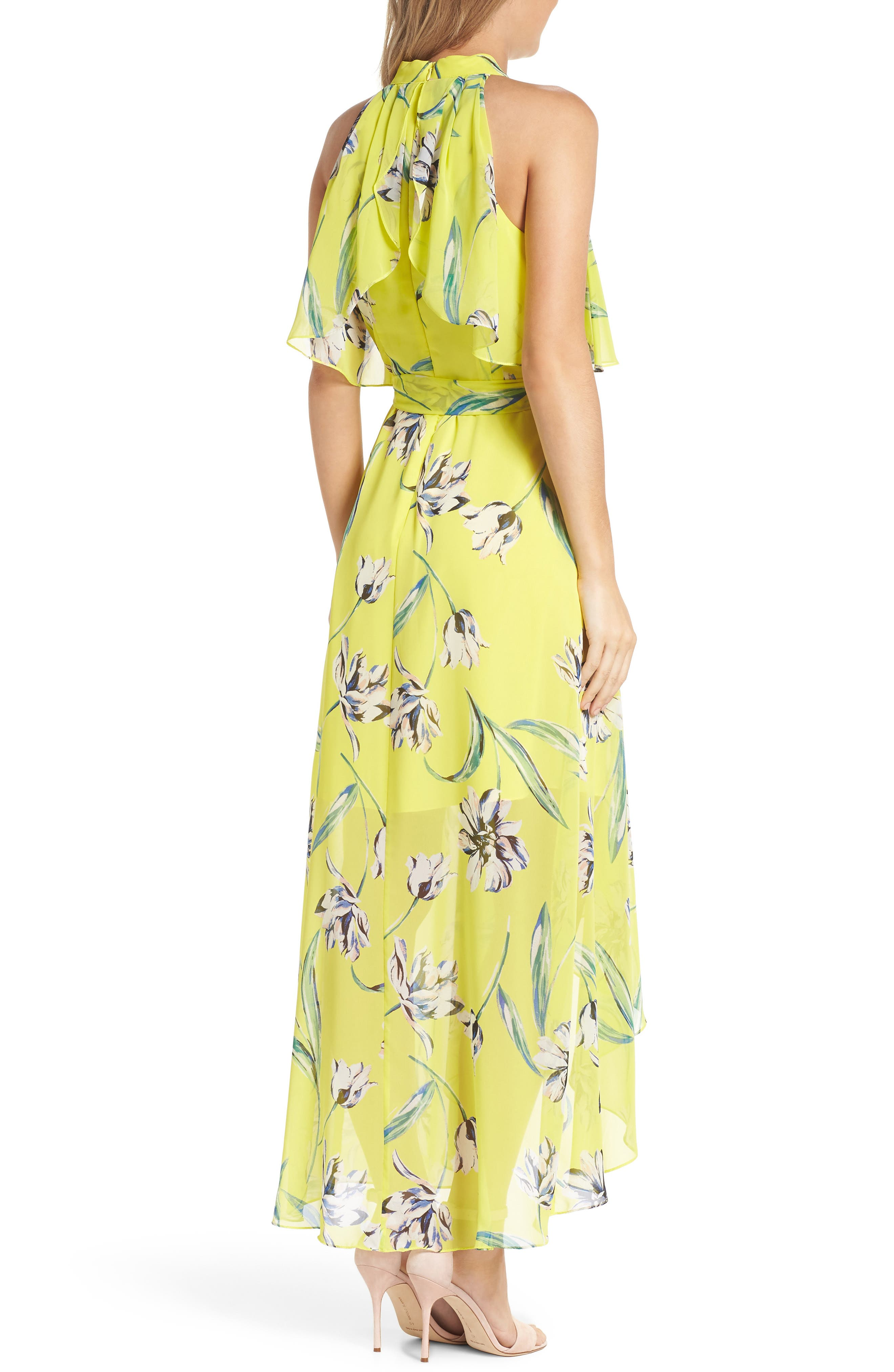 ELIZA J, Halter Neck Chiffon Maxi Dress, Alternate thumbnail 2, color, 720