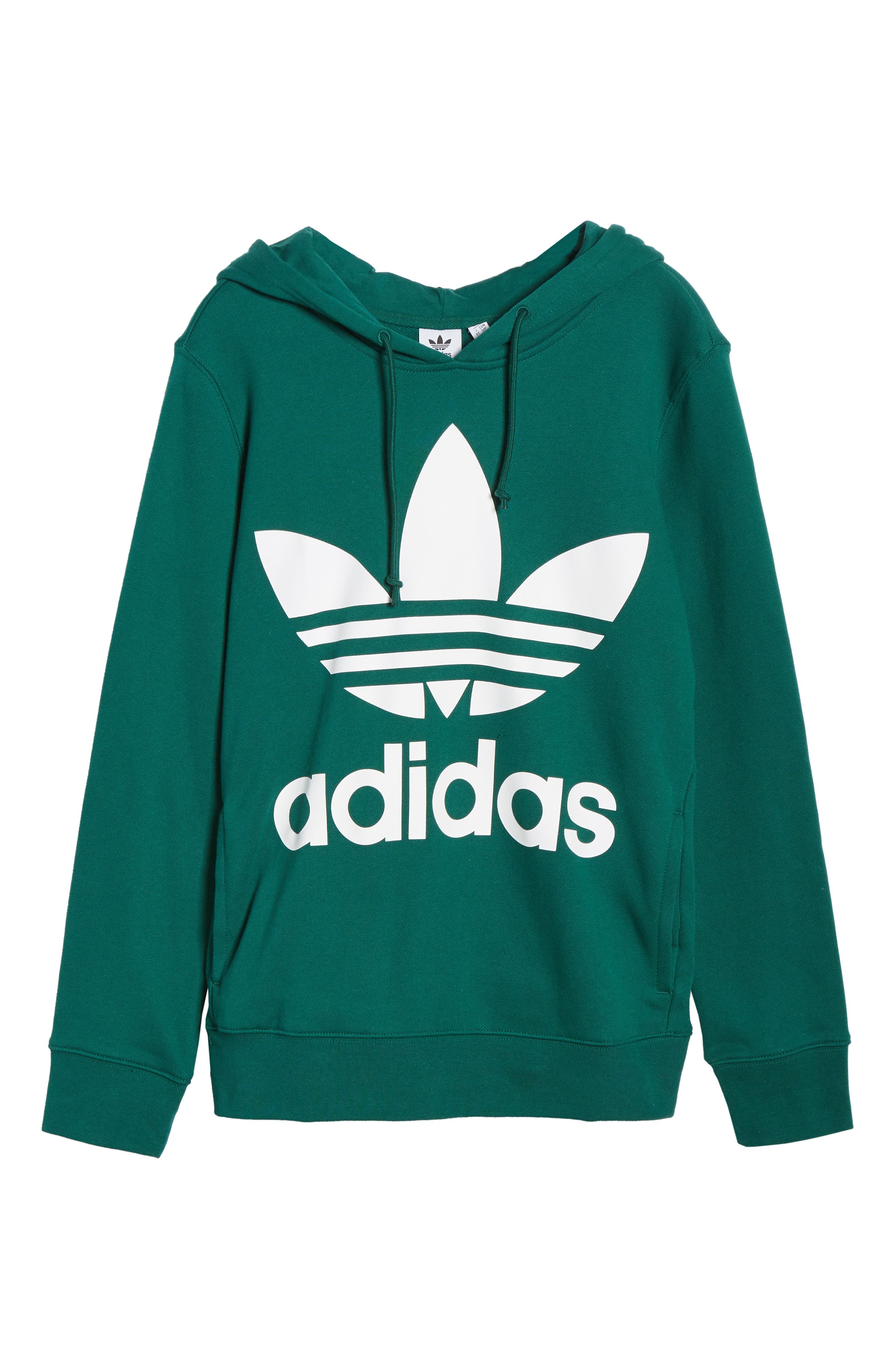 ADIDAS ORIGINALS, adidas Trefoil Logo Hoodie, Alternate thumbnail 7, color, COLLEGIATE GREEN