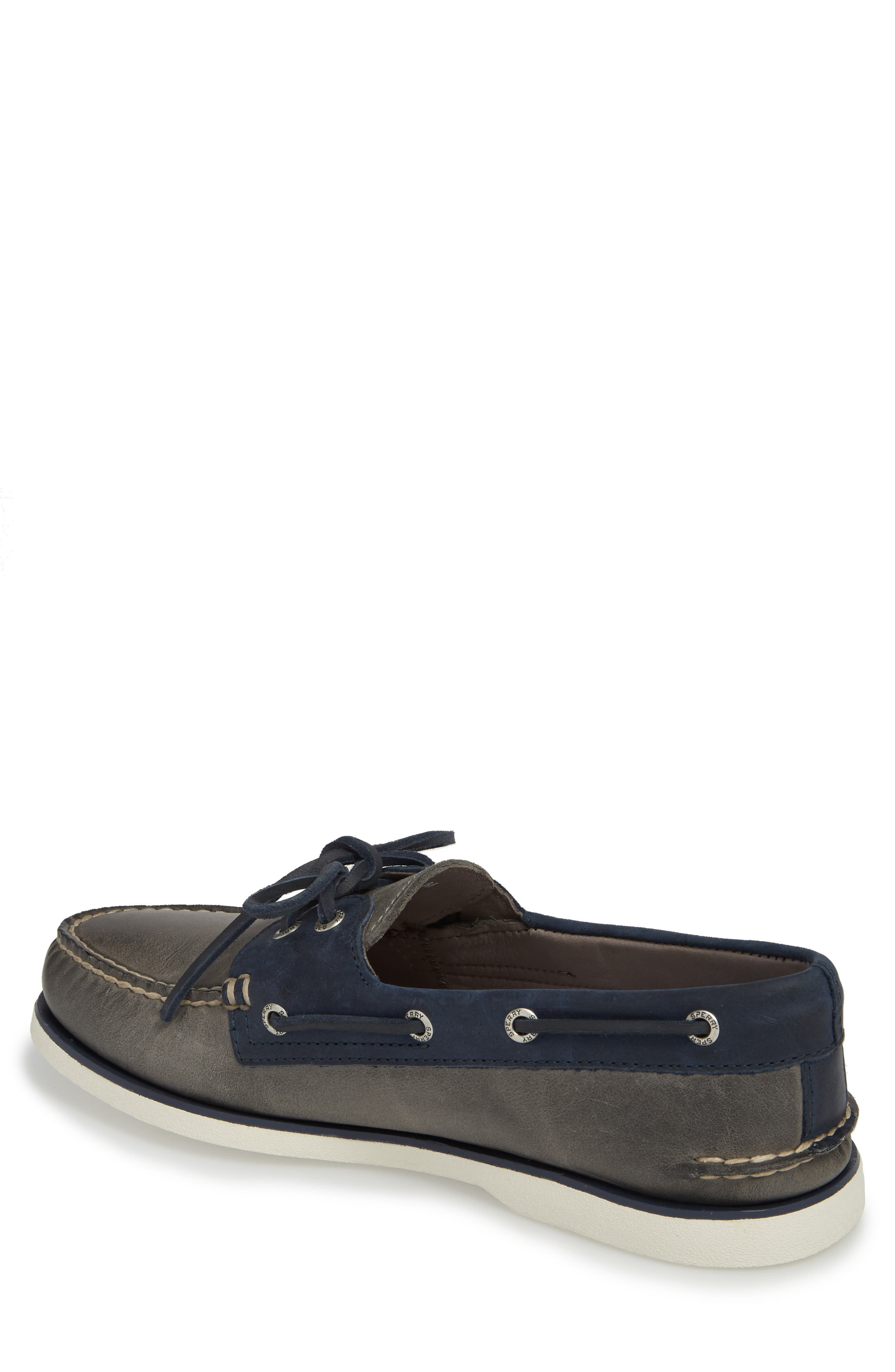 SPERRY, Gold Cup Authentic Original Boat Shoe, Alternate thumbnail 2, color, GREY/ NAVY LEATHER