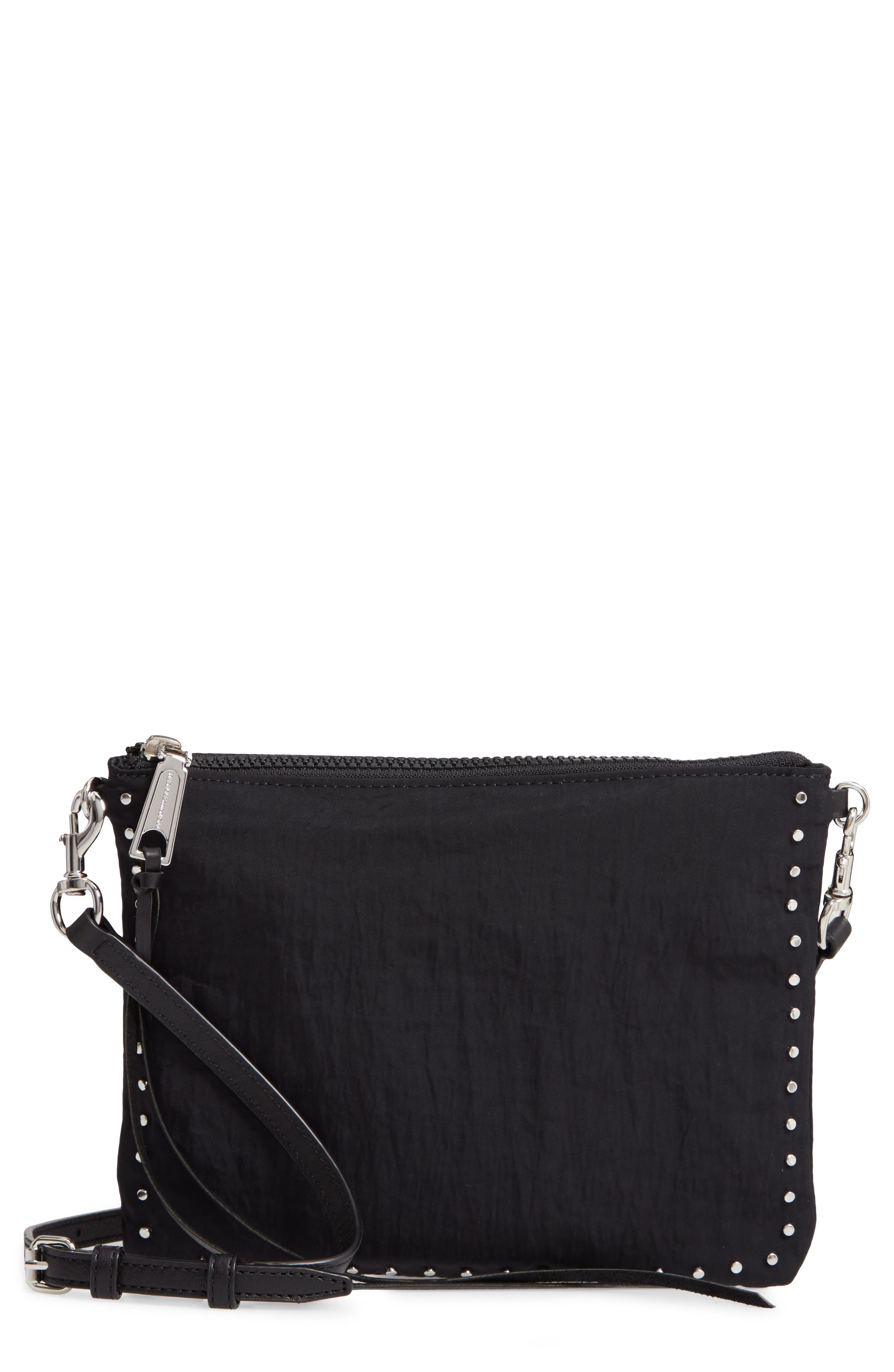 REBECCA MINKOFF, Jon Studded Nylon Crossbody Bag, Main thumbnail 1, color, 001