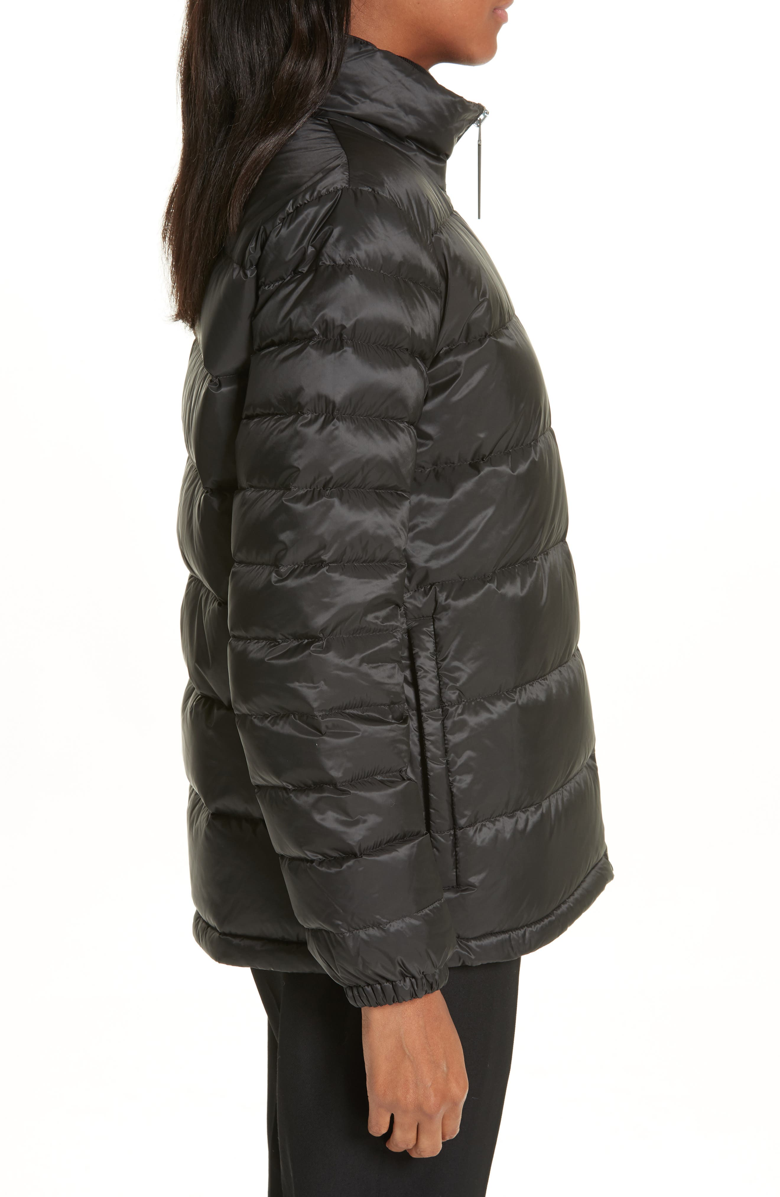 BURBERRY, Smethwick Archive Logo Quilted Down Puffer Coat, Alternate thumbnail 4, color, BLACK