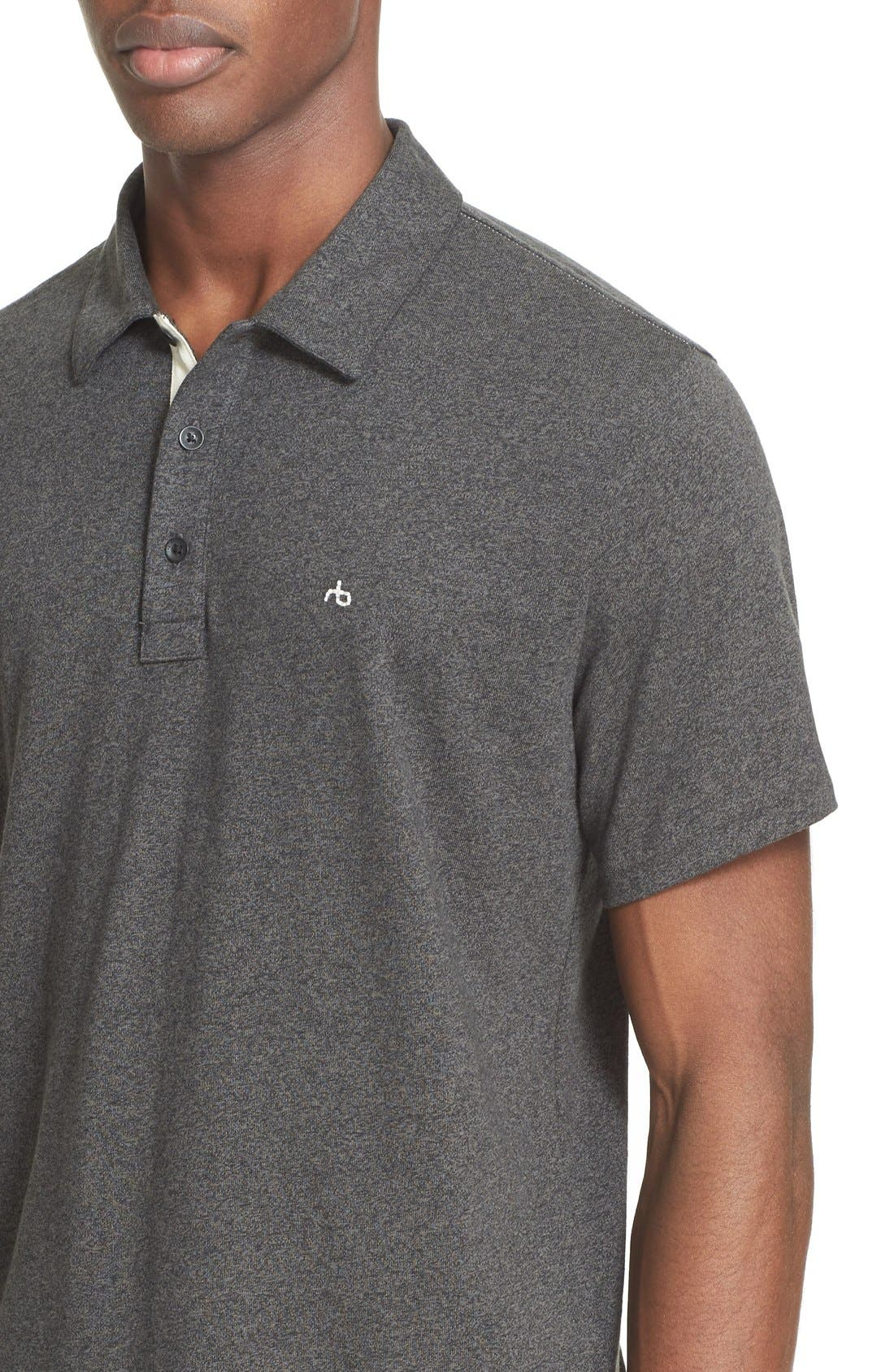 RAG & BONE, Standard Issue Regular Fit Slub Cotton Polo, Alternate thumbnail 7, color, PEWTER